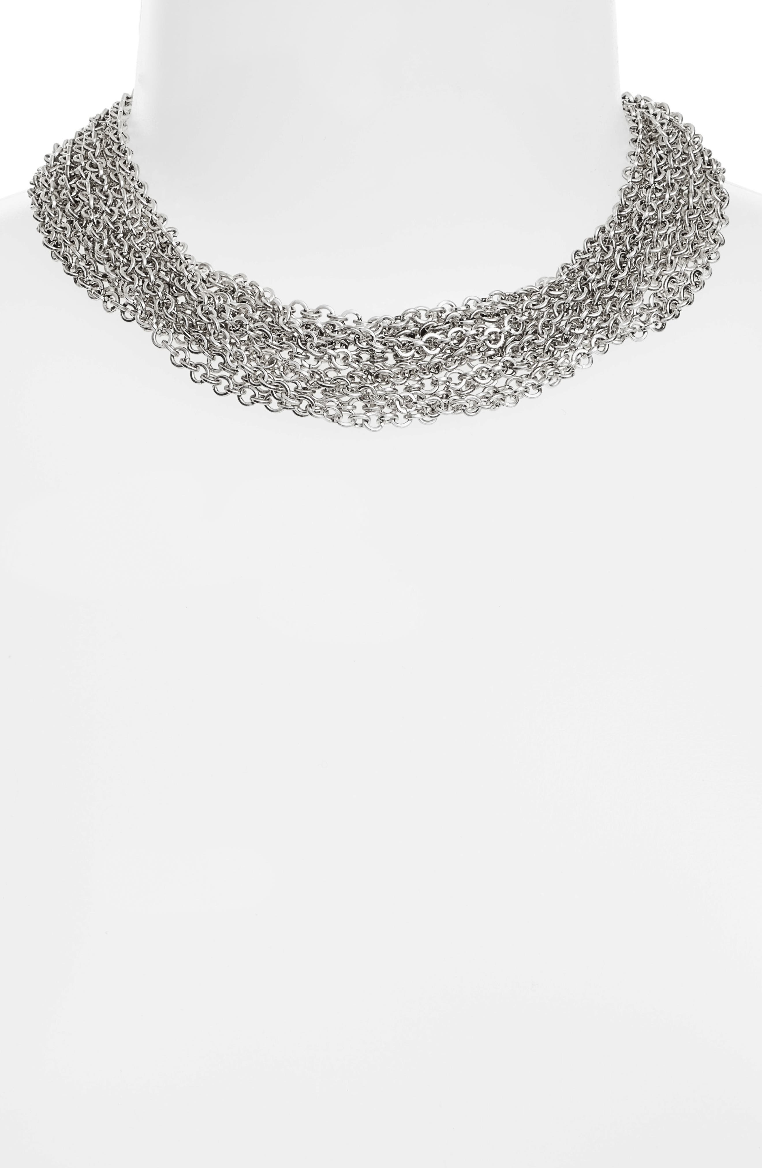 Adeline Collar Necklace,                             Alternate thumbnail 2, color,                             SILVER