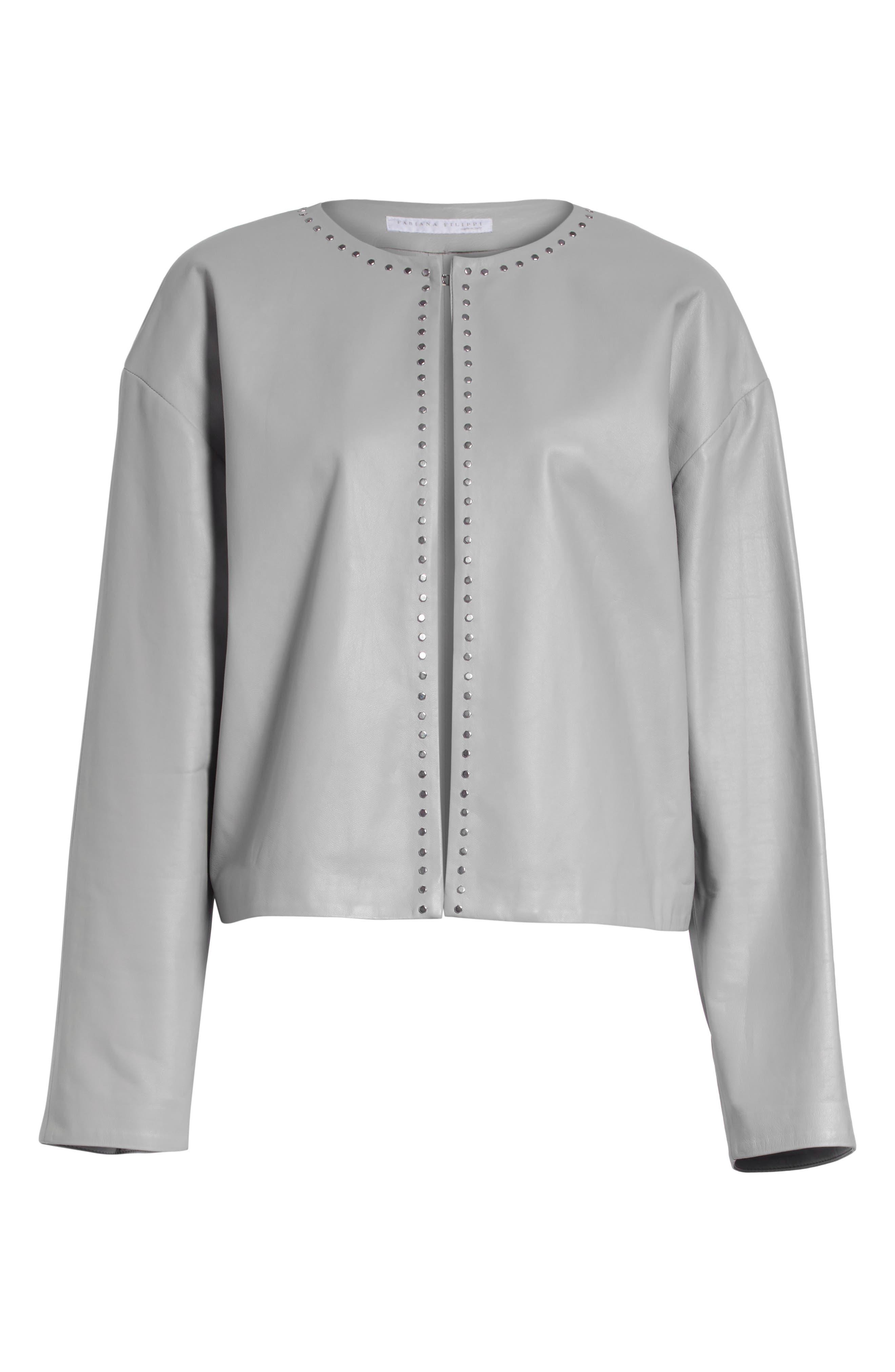 Studded Nappa Leather Jacket,                             Alternate thumbnail 5, color,                             020