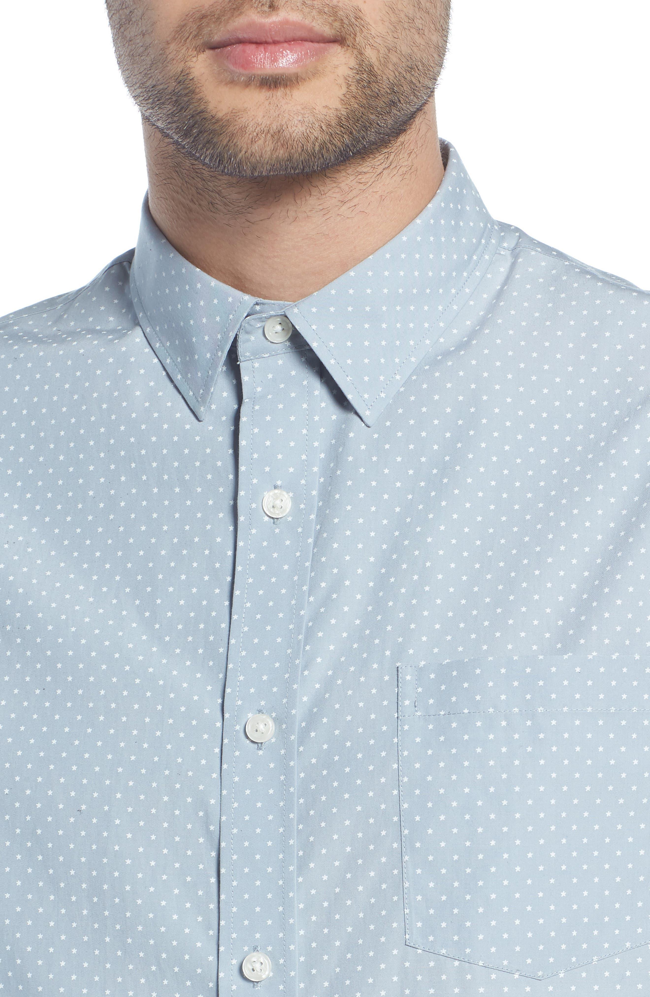 Classic Fit Micro Star Short Sleeve Sport Shirt,                             Alternate thumbnail 4, color,                             ARCTIC