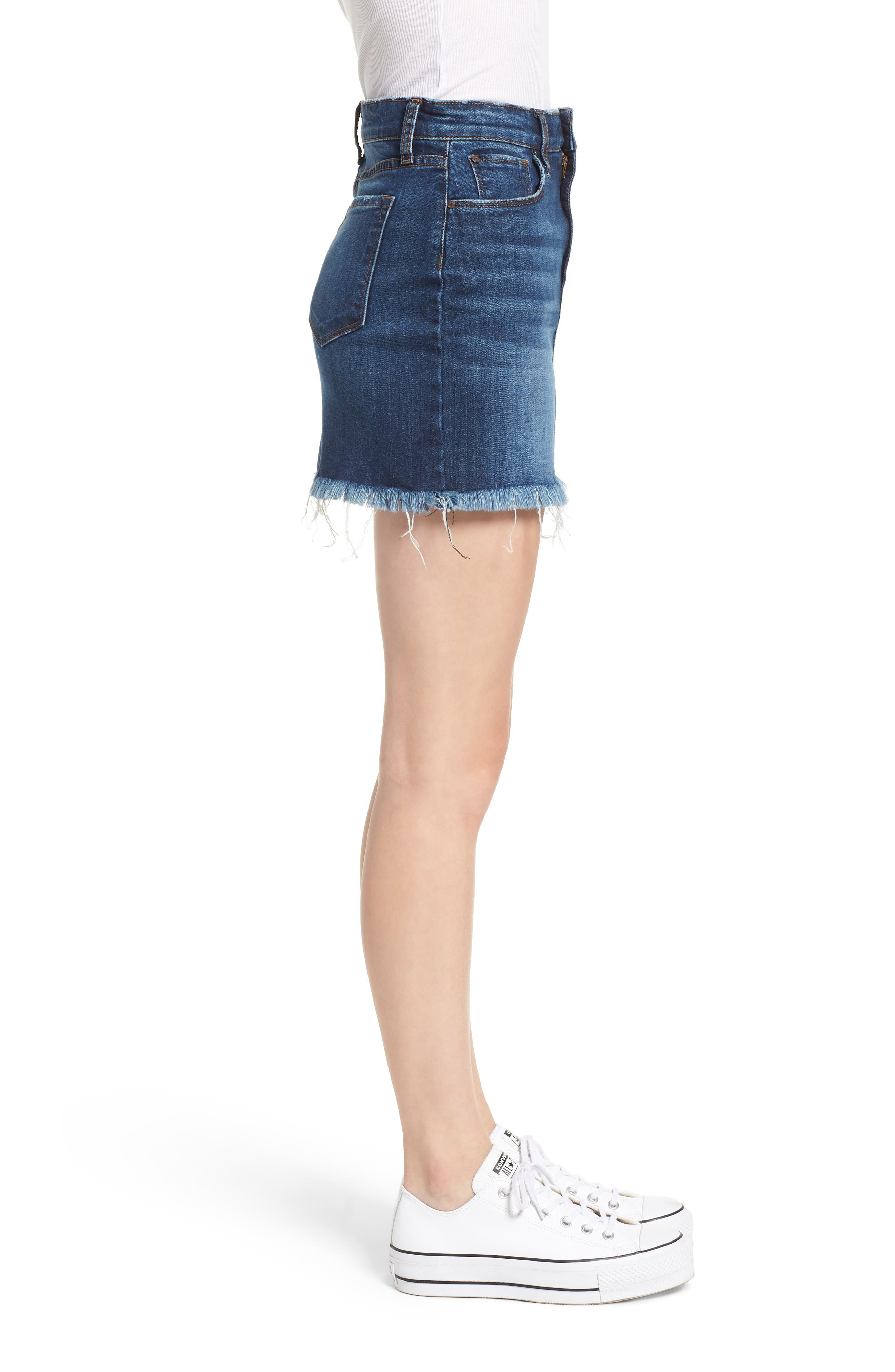 Raw Hem Denim Miniskirt,                             Alternate thumbnail 3, color,                             MEDIUM WASH