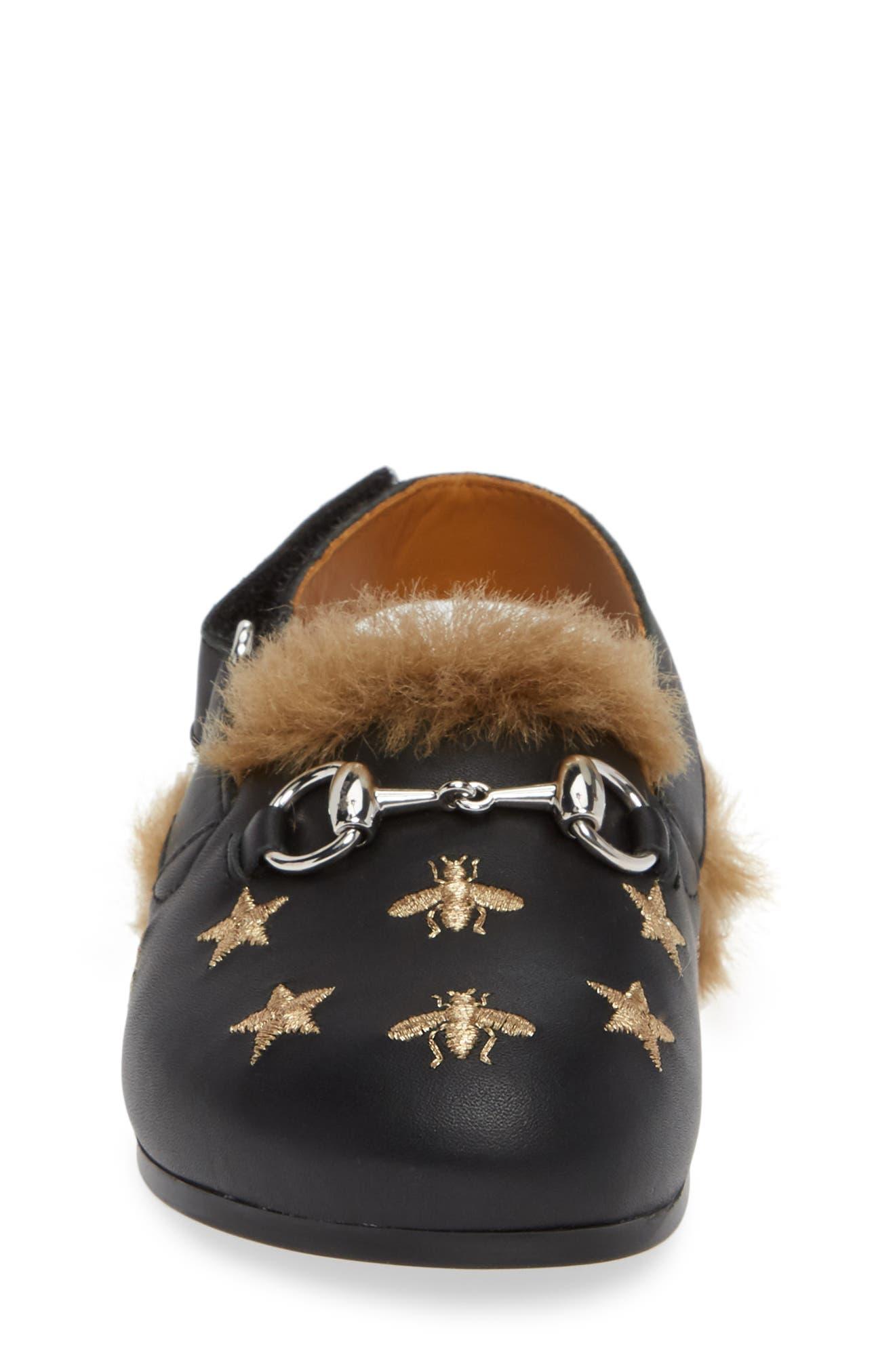 Horsebit Embroidered Sandal,                             Alternate thumbnail 4, color,                             BLACK/GOLD STARS