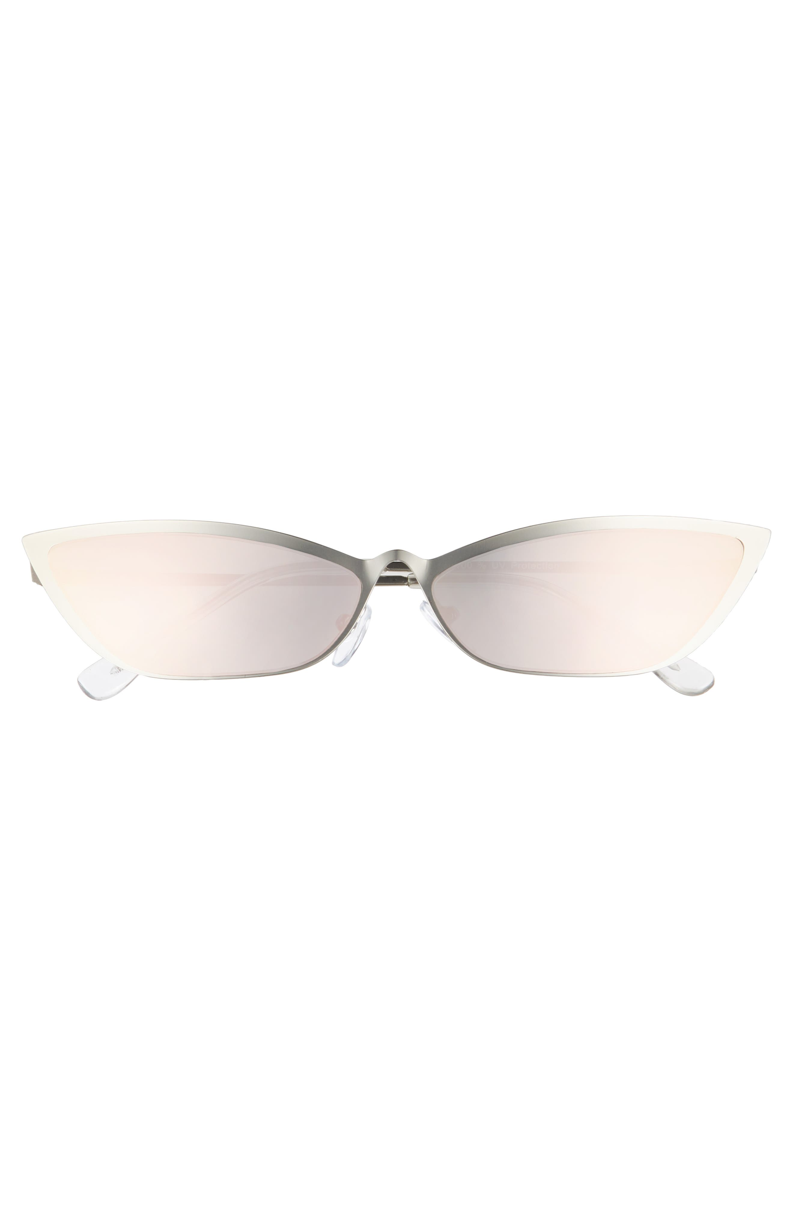 67mm Mirror Cat Eye Sunglasses,                             Alternate thumbnail 3, color,                             SILVER/ PINK