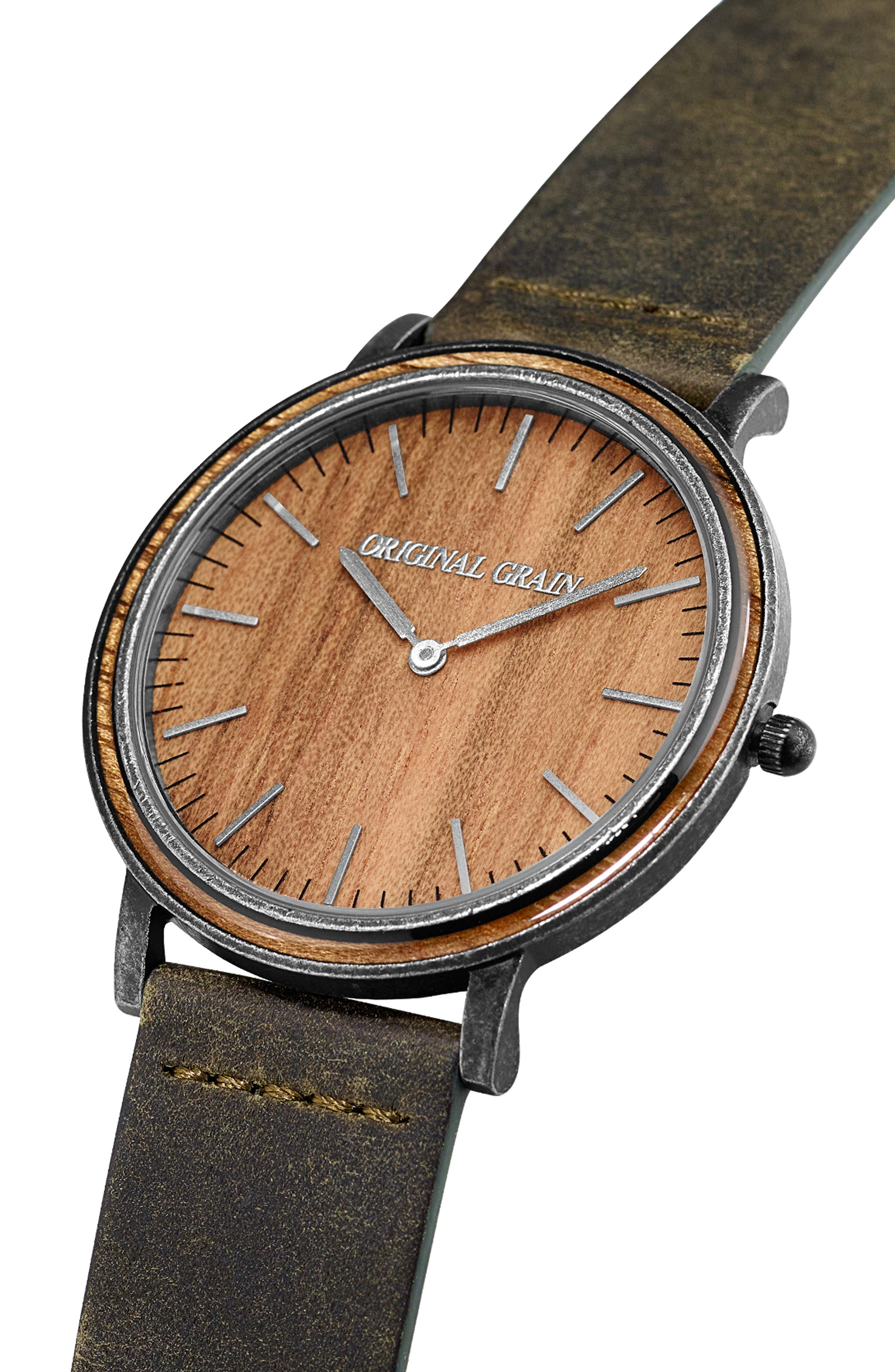 Minimalist Leather Strap Watch, 40mm,                             Alternate thumbnail 3, color,                             HONEY BROWN
