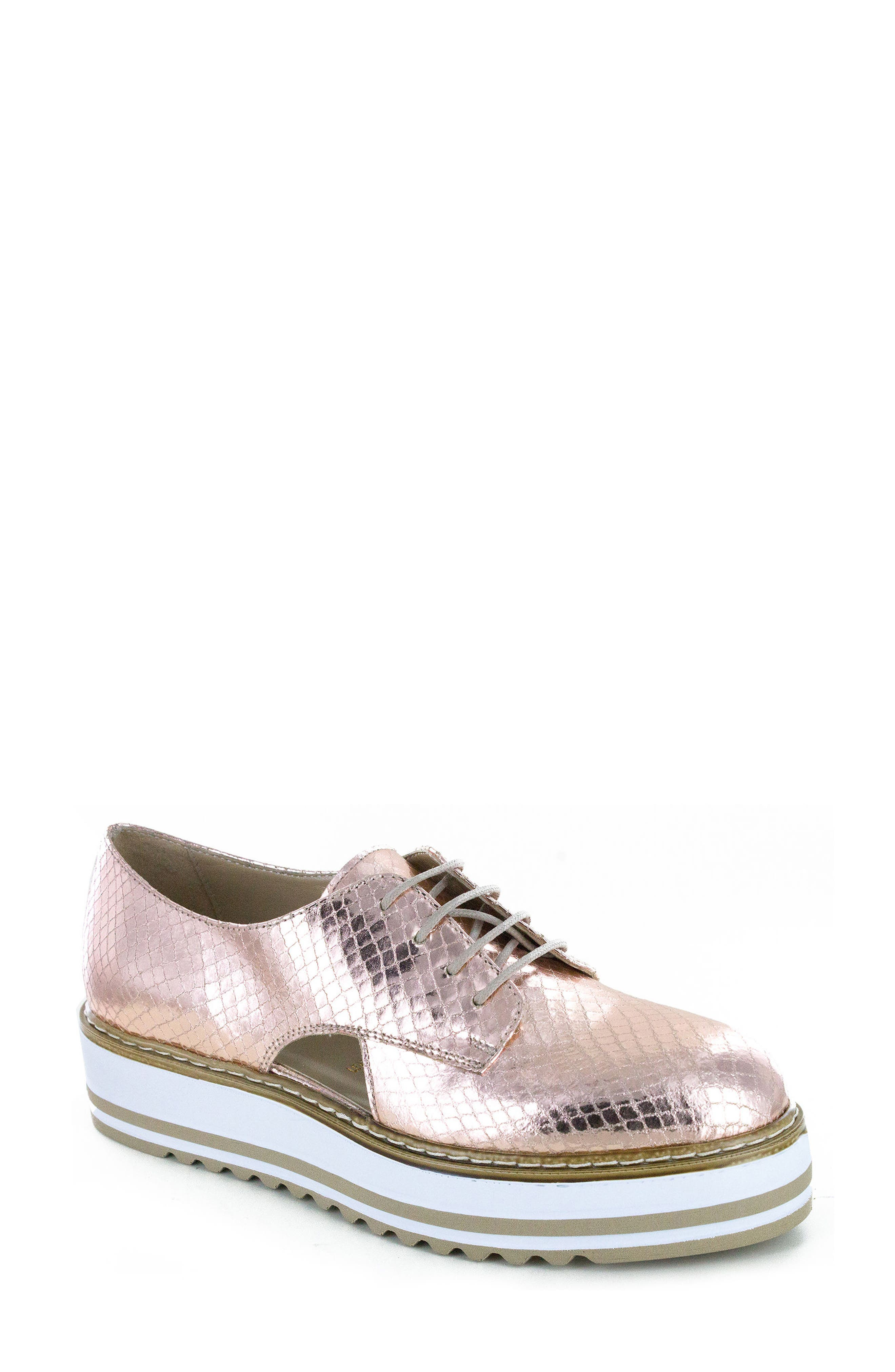 'Brody' Platform Oxford,                             Main thumbnail 1, color,                             ROSE GOLD LEATHER