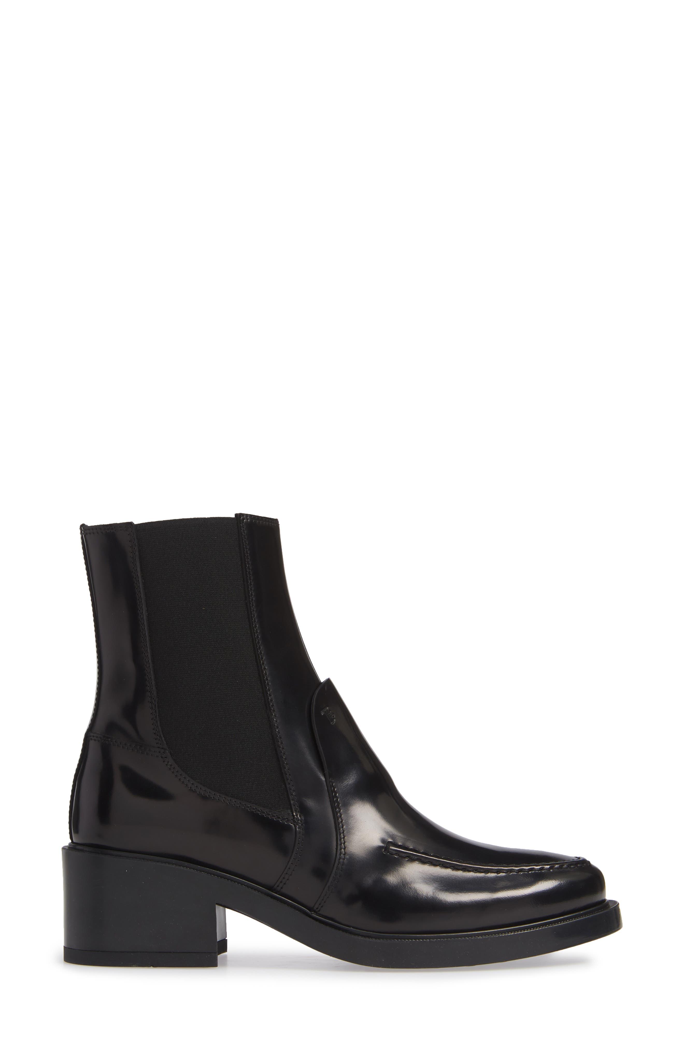 Block Heel Ankle Boot,                             Alternate thumbnail 3, color,                             001