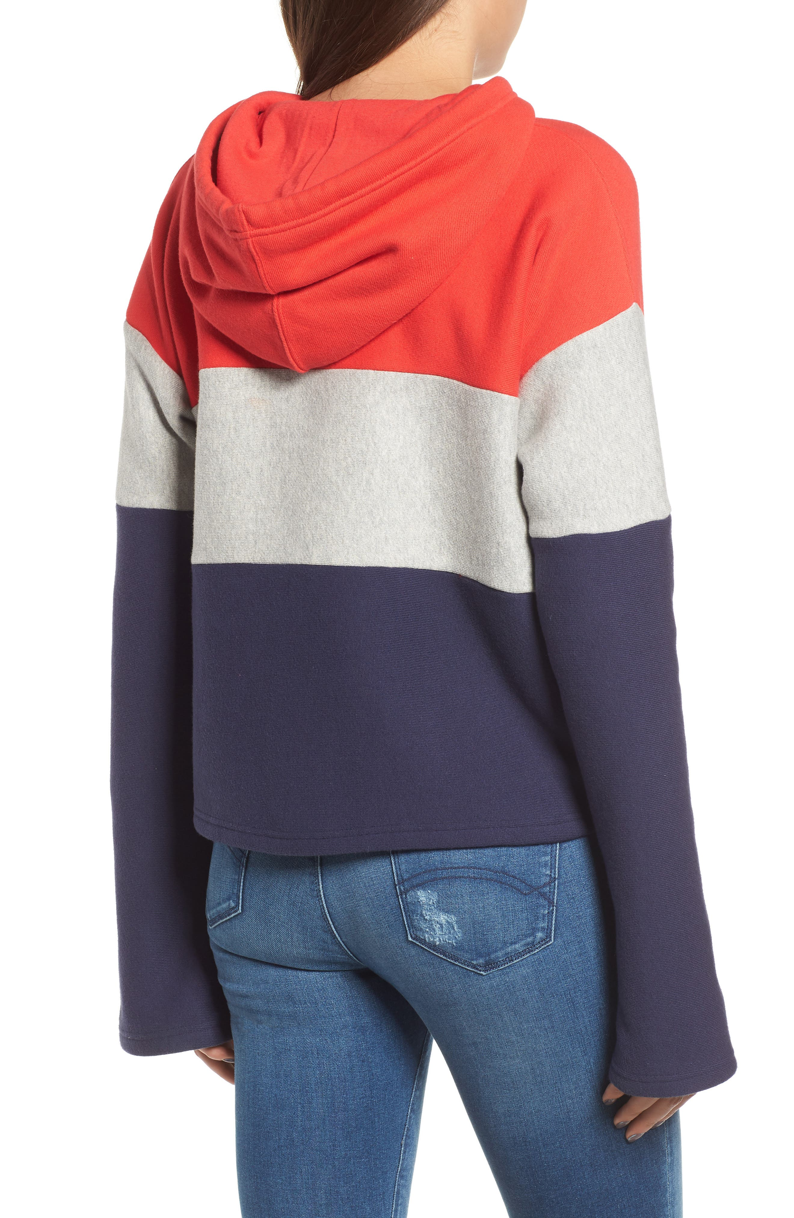Colorblock Hoodie,                             Alternate thumbnail 2, color,                             RED SPK/ OXFRD GRY/ IMPIND