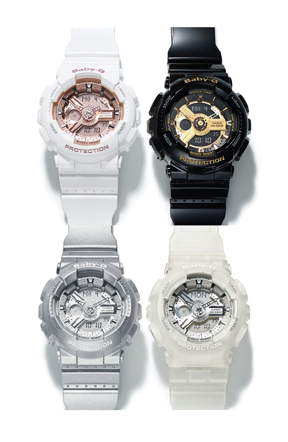 Baby-G 'Mini Gloss' Ana-Digi Watch, 43mm,                             Alternate thumbnail 4, color,                             WHITE/ CHAMPAGNE