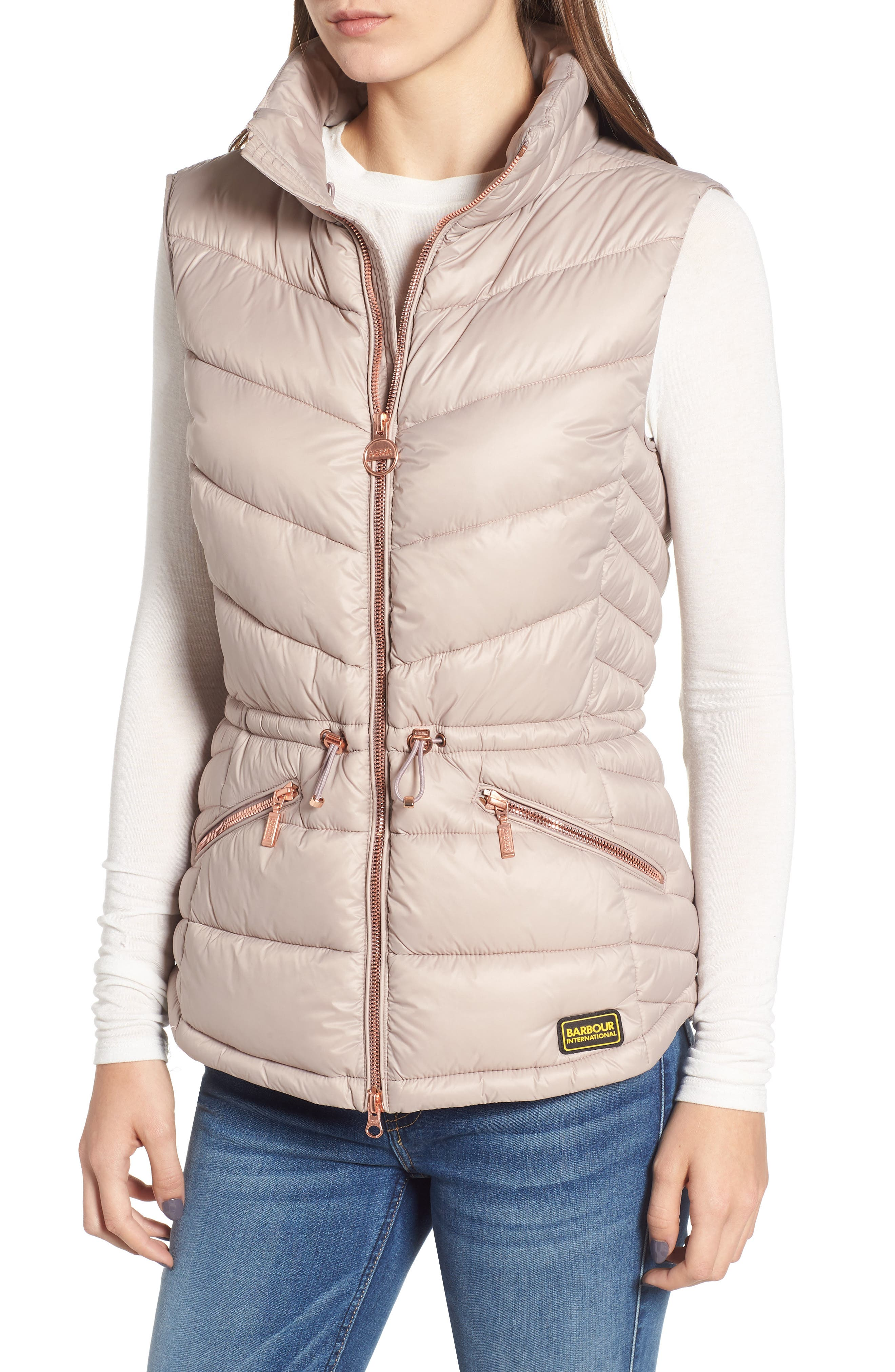 Victory Cinch Waist Chevron Quilted Gilet with Removable Faux Fur Collar,                             Alternate thumbnail 4, color,                             LATTE
