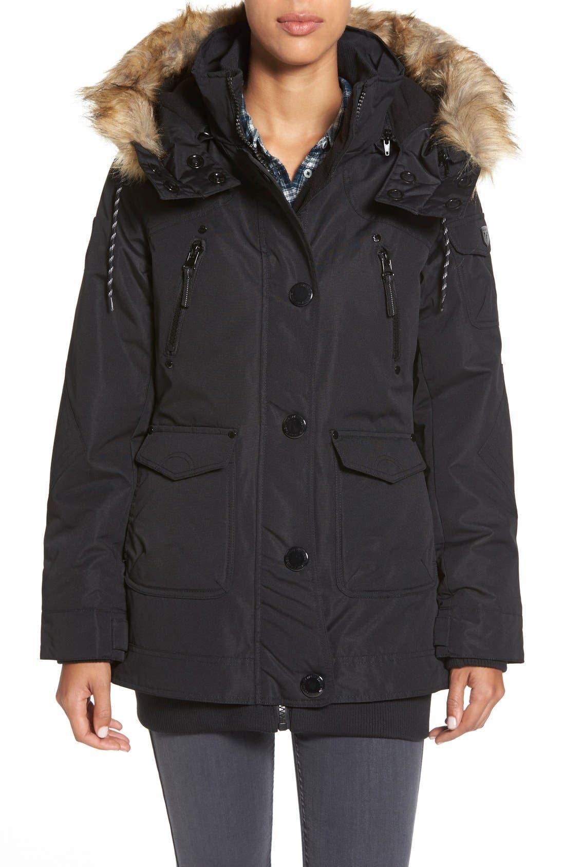 Faux Fur & Knit Trim Parka, Main, color, 001