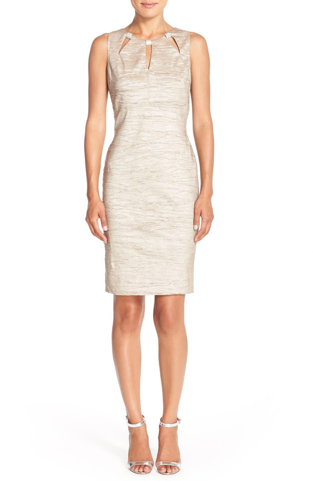 Embellished Cutout Taffeta Sheath Dress,                             Alternate thumbnail 2, color,                             CHAMPAGNE