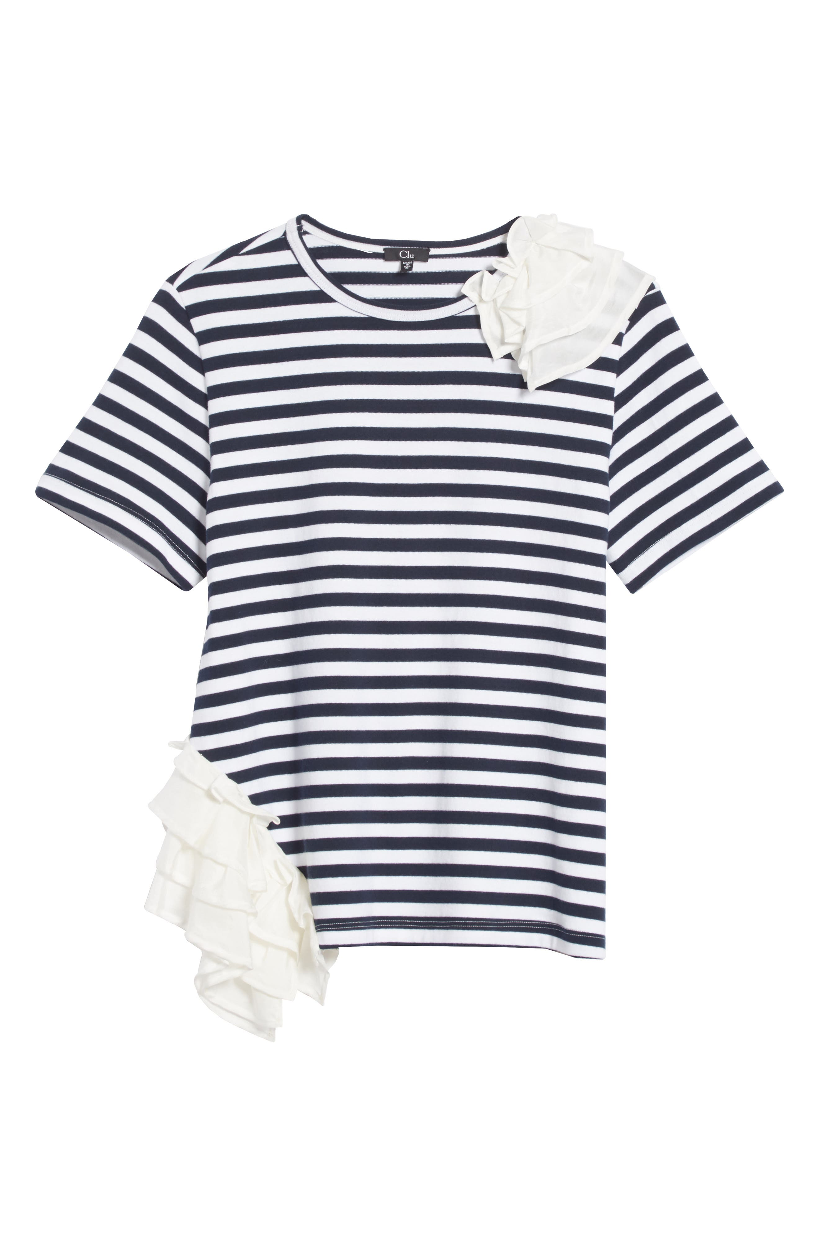 Ruffle Trim Stripe Top,                             Alternate thumbnail 6, color,                             NAVY