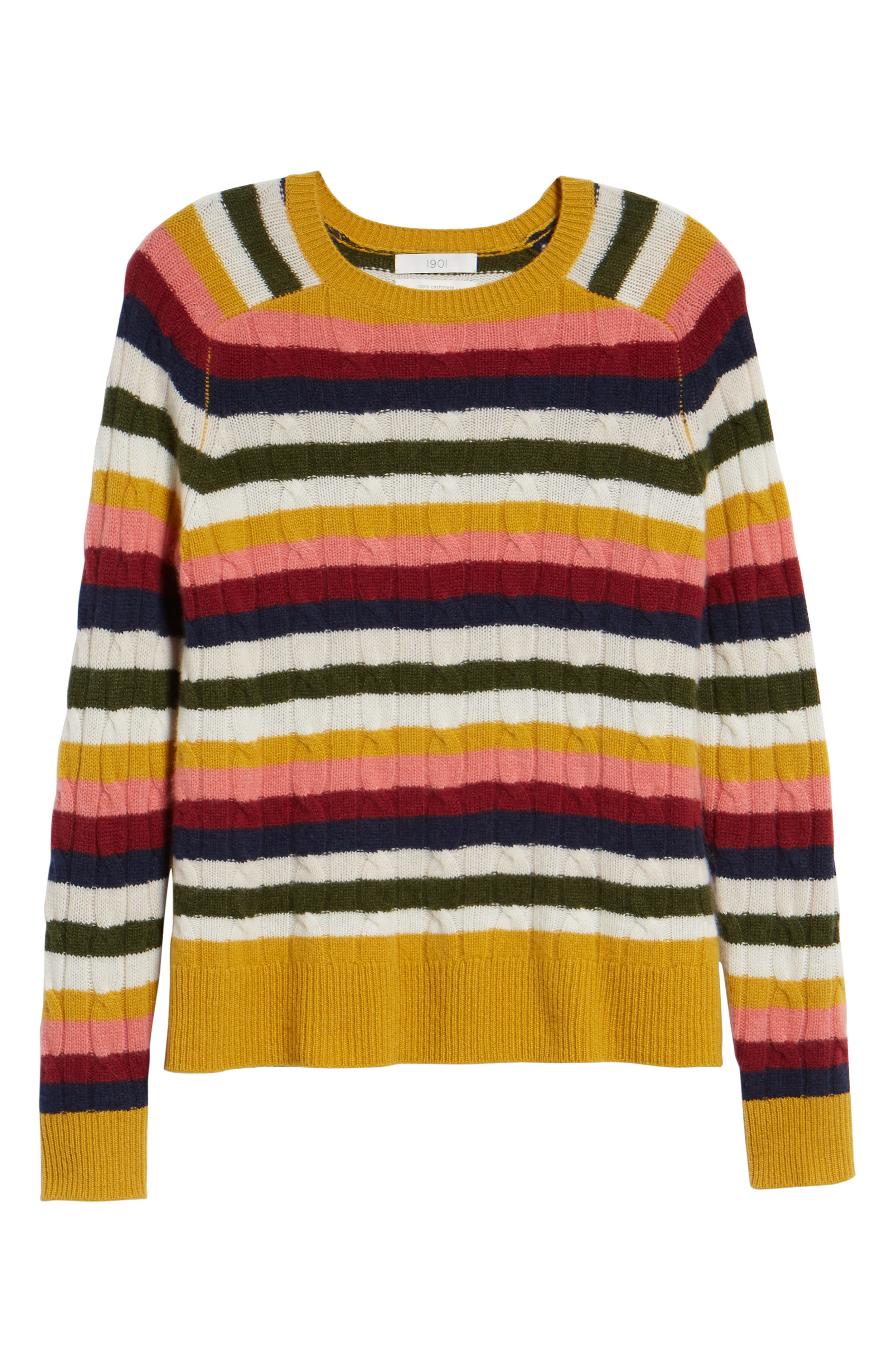Cashmere Cable Sweater,                             Alternate thumbnail 6, color,                             RED MULTI HAPPY STRIPE