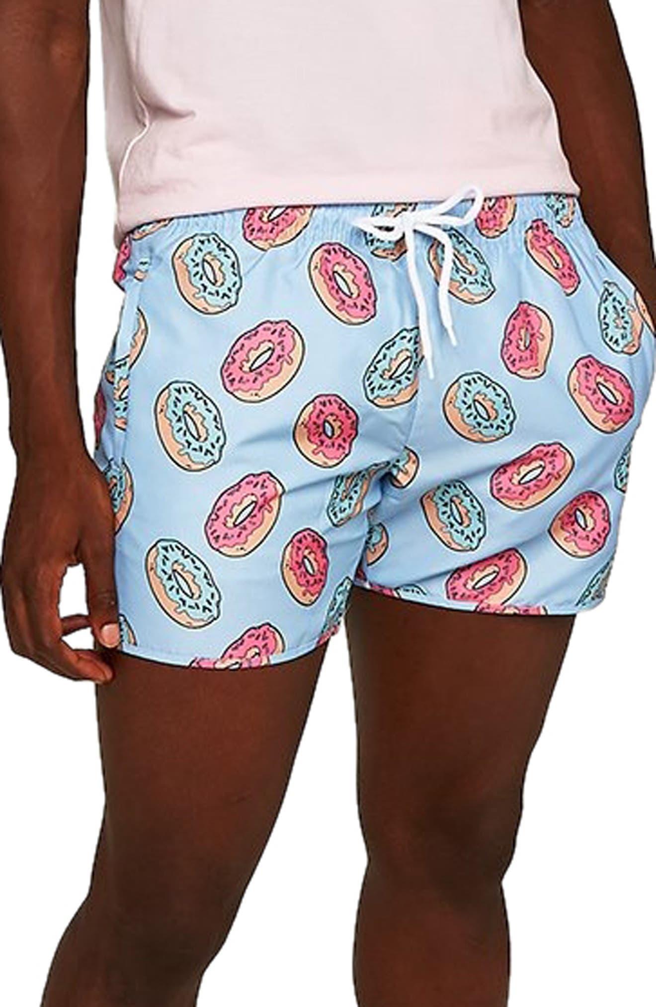 Doughnut Munday Print Swim Trunks,                             Alternate thumbnail 3, color,                             400