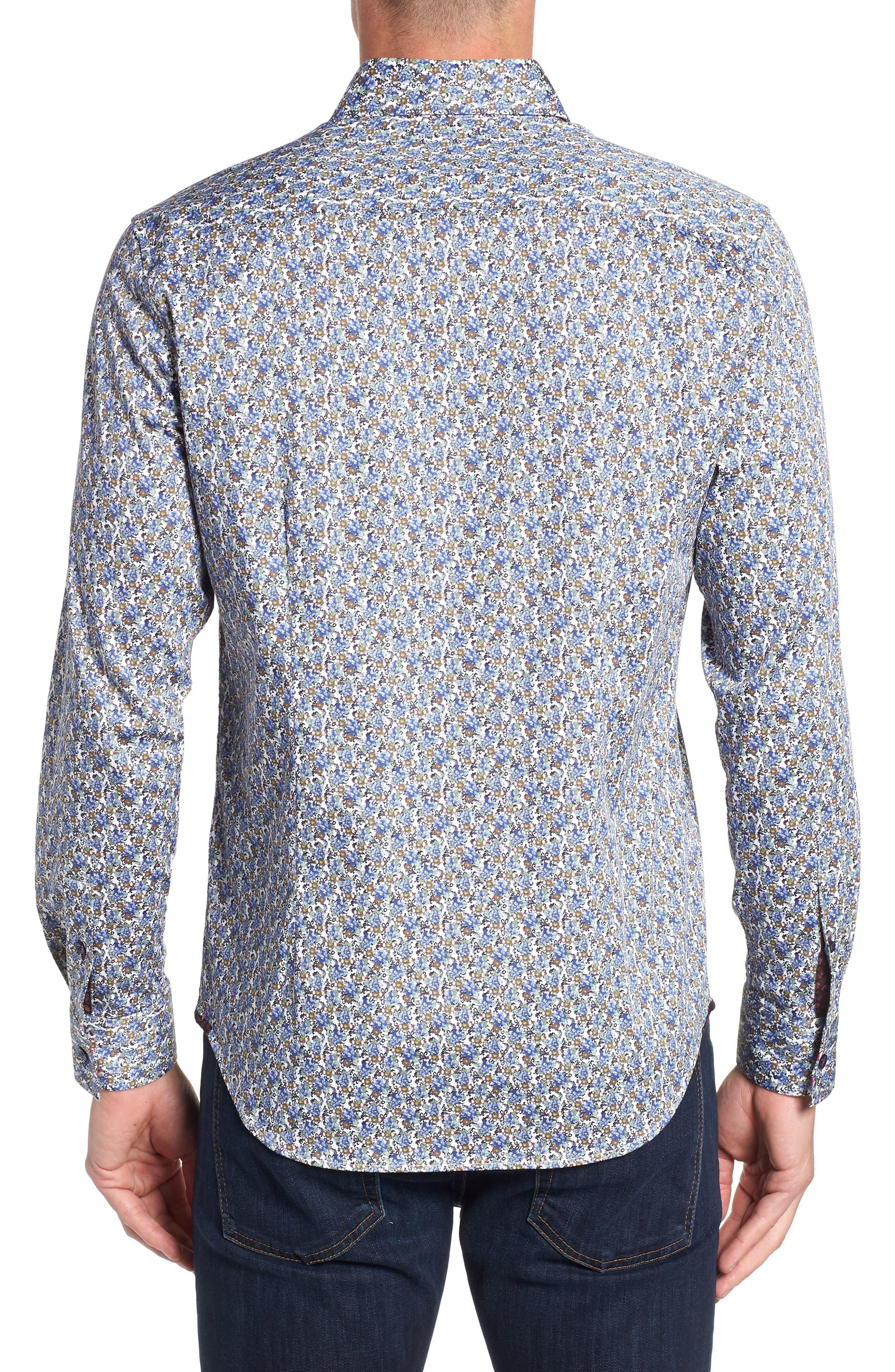Richardson Tailored Fit Print Sport Shirt,                             Alternate thumbnail 3, color,                             400