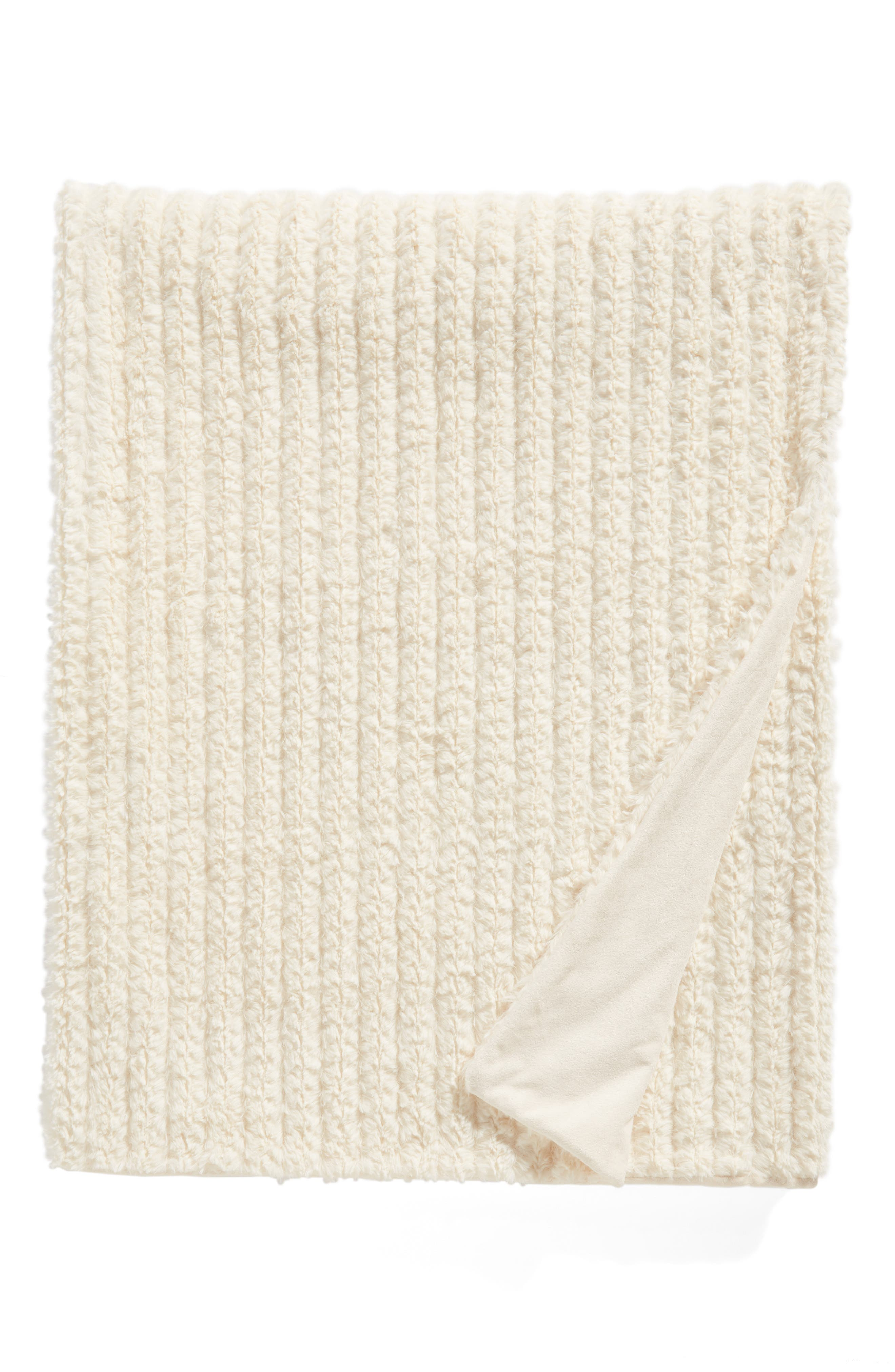 Nordstrom Cozy Plush Faux Fur Blanket,                         Main,                         color, IVORY SOLID