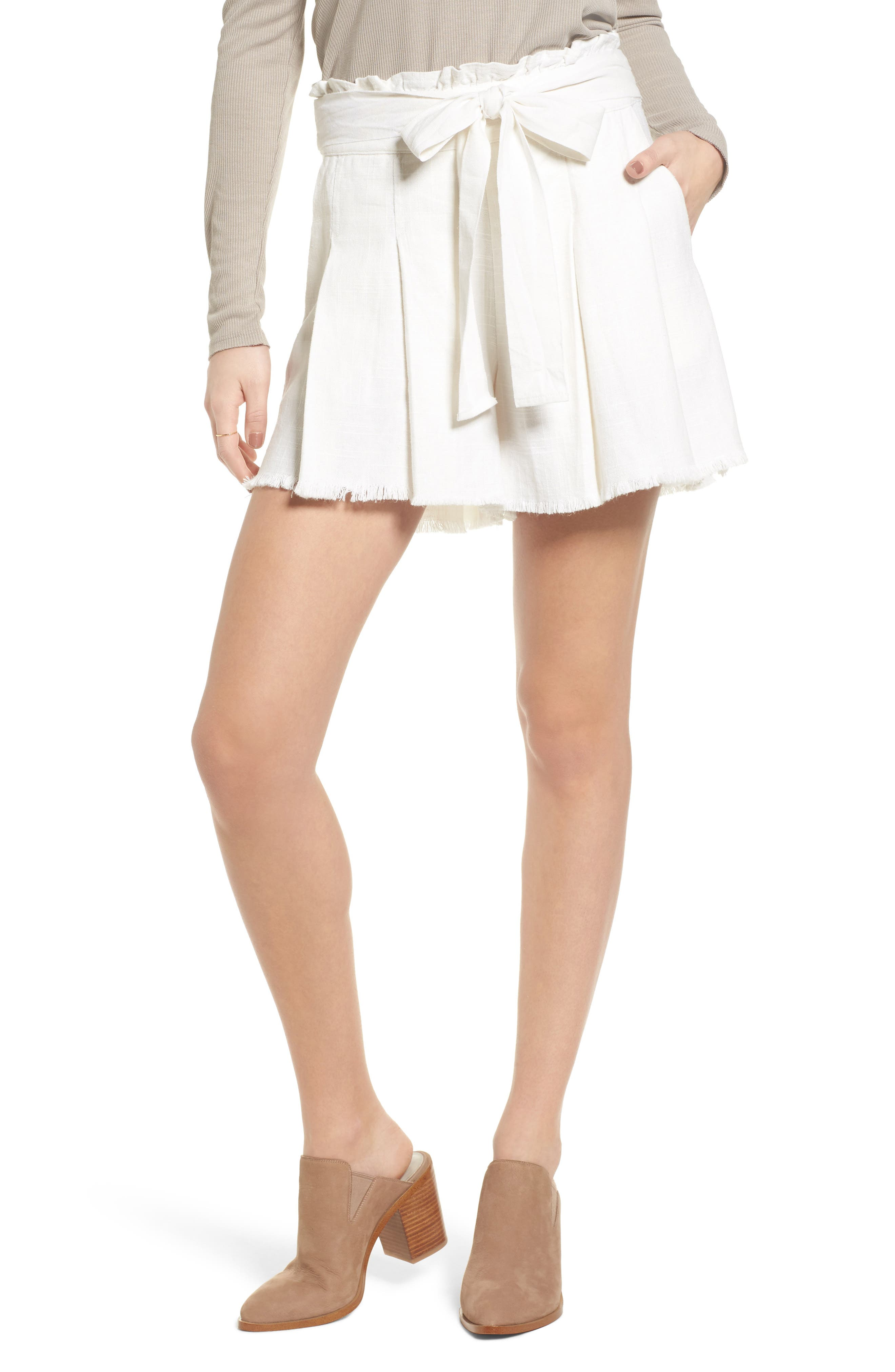 Raw Hem Paper Bag Waist Shorts,                         Main,                         color, 100
