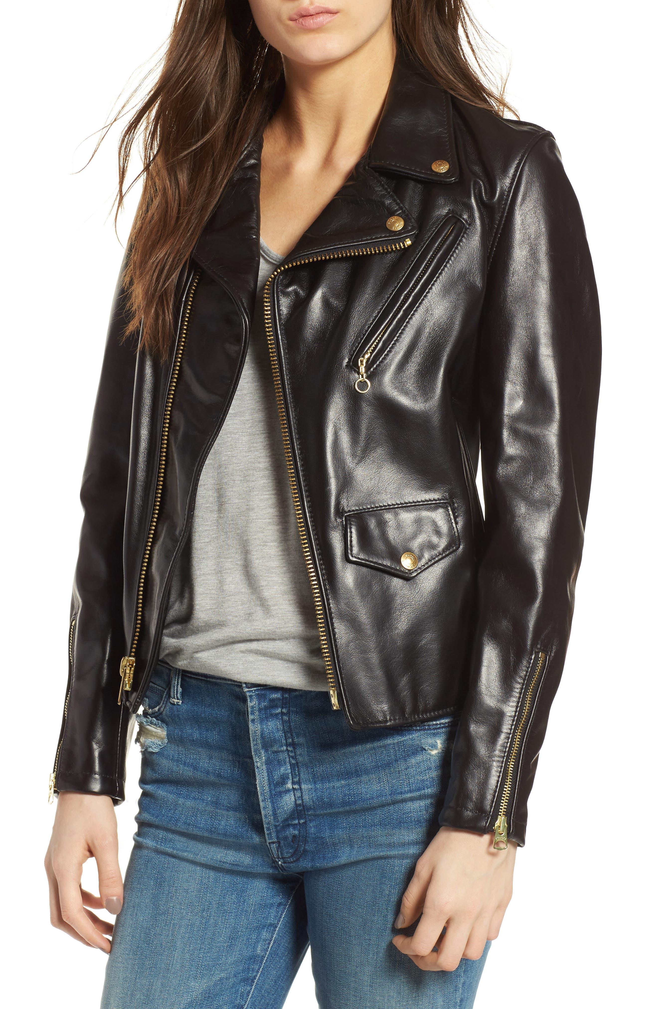 Leather Moto Jacket,                             Main thumbnail 1, color,                             BLACK
