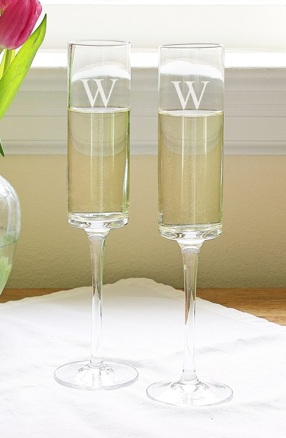 'Contemporary' Monogram Champagne Flutes,                             Main thumbnail 1, color,                             123