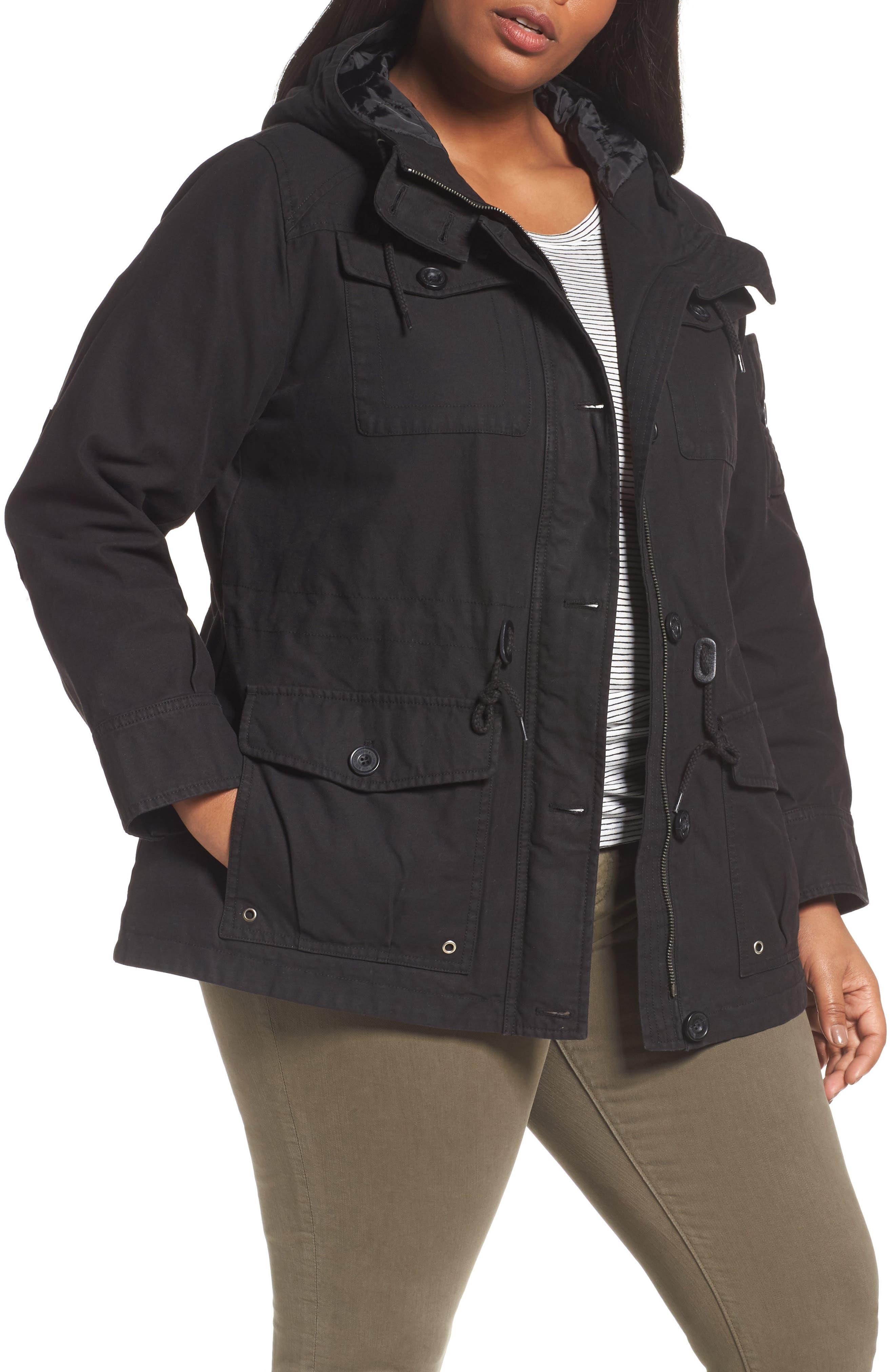 Hooded Cotton Utility Jacket,                             Main thumbnail 1, color,                             001