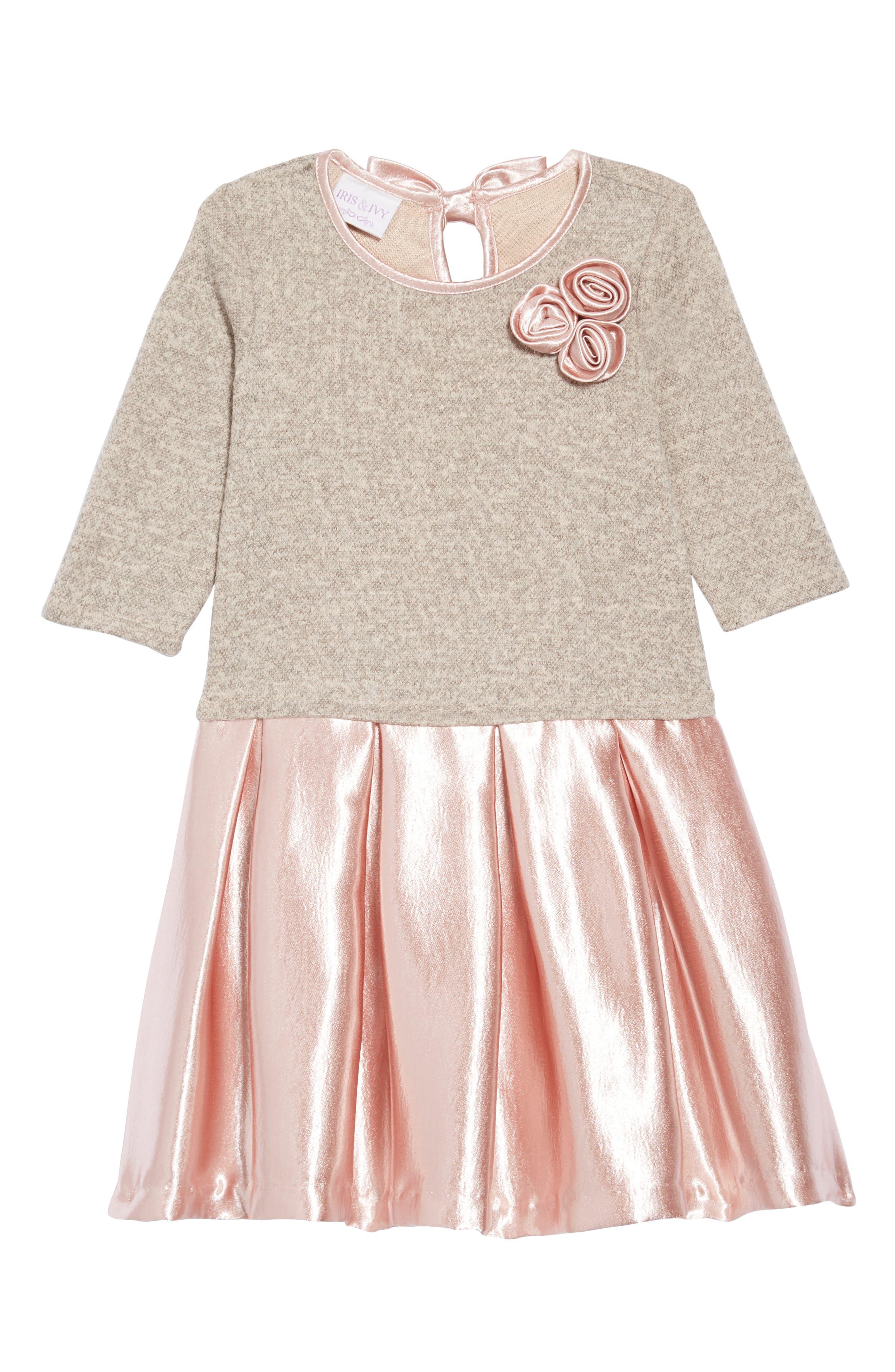 Knit Hammered Satin Dress,                             Main thumbnail 1, color,                             ROSE
