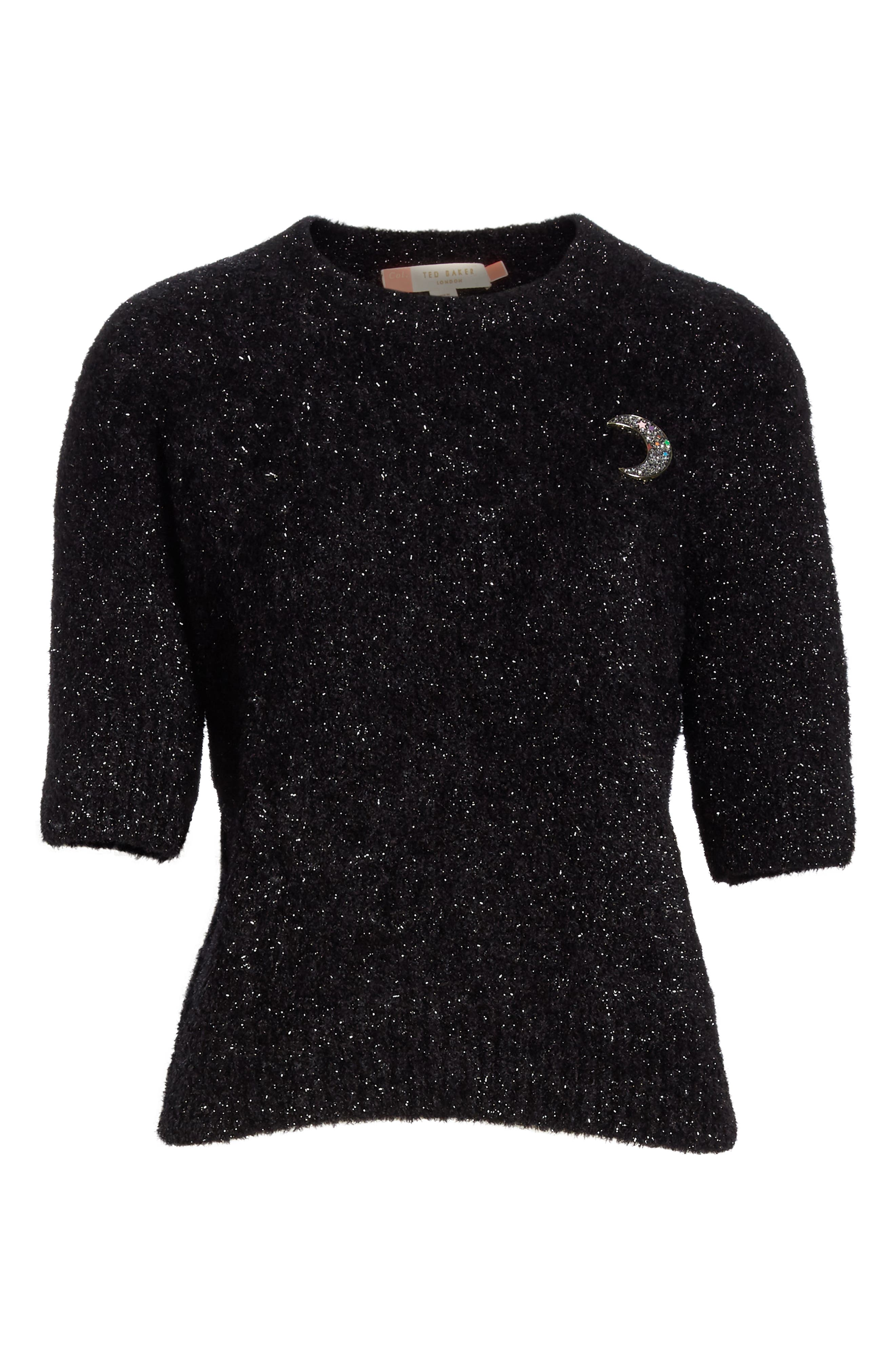 Colour by Numbers Aalana Short Sleeve Sweater,                             Alternate thumbnail 6, color,                             00-BLACK