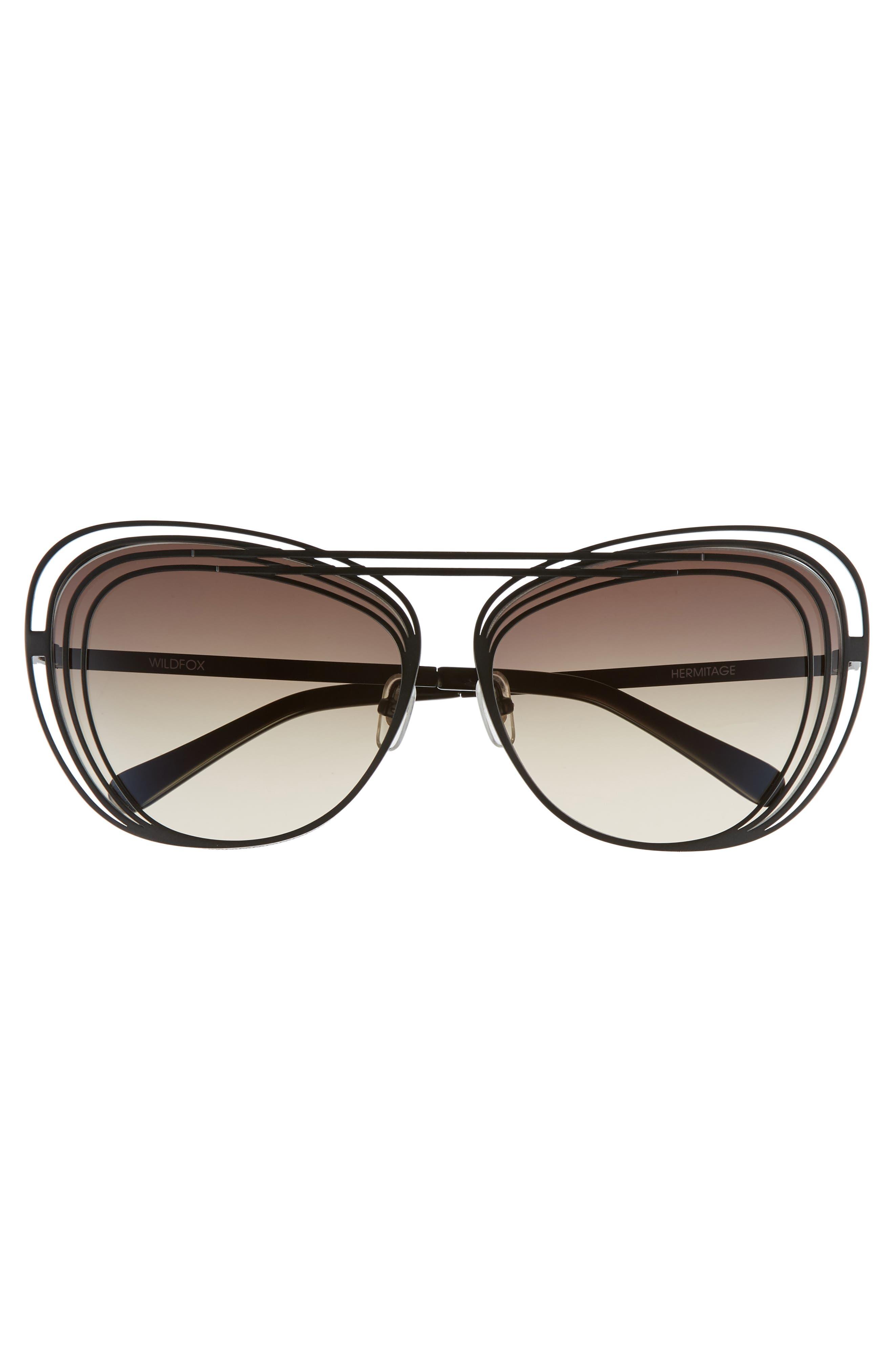 Hermitage 61mm Cat Eye Sunglasses,                             Alternate thumbnail 3, color,                             MATTE BLACK/ GREY GRADIENT