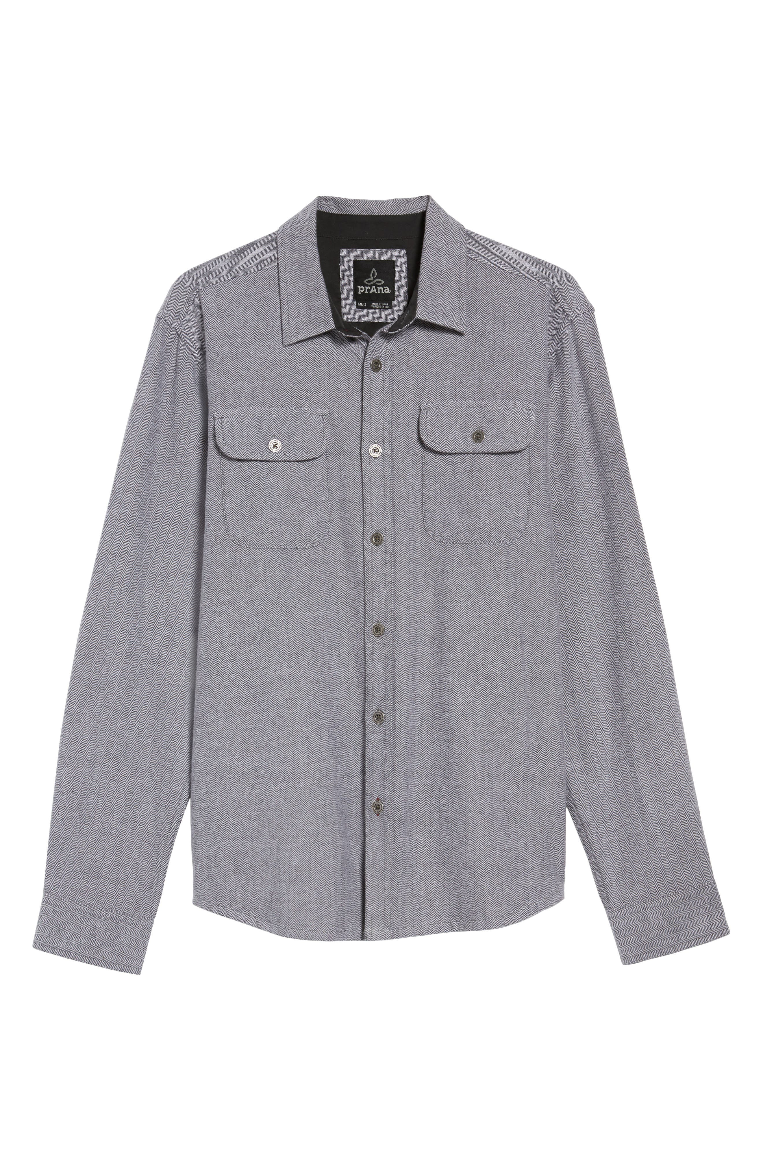 PRANA,                             Lybek Regular Fit Herringbone Flannel Shirt,                             Alternate thumbnail 6, color,                             027