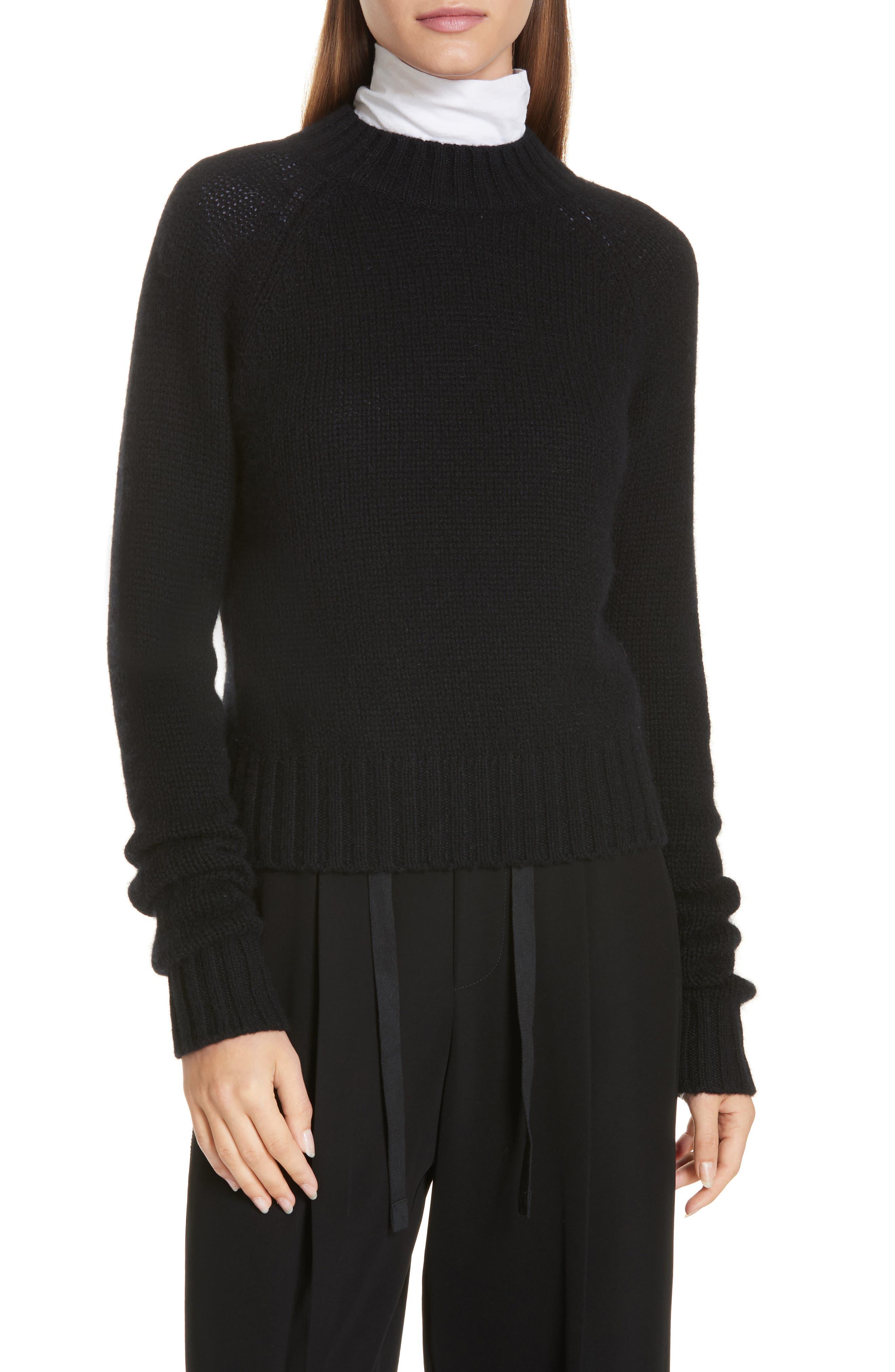 Shrunken Cashmere Sweater,                             Main thumbnail 1, color,                             BLACK