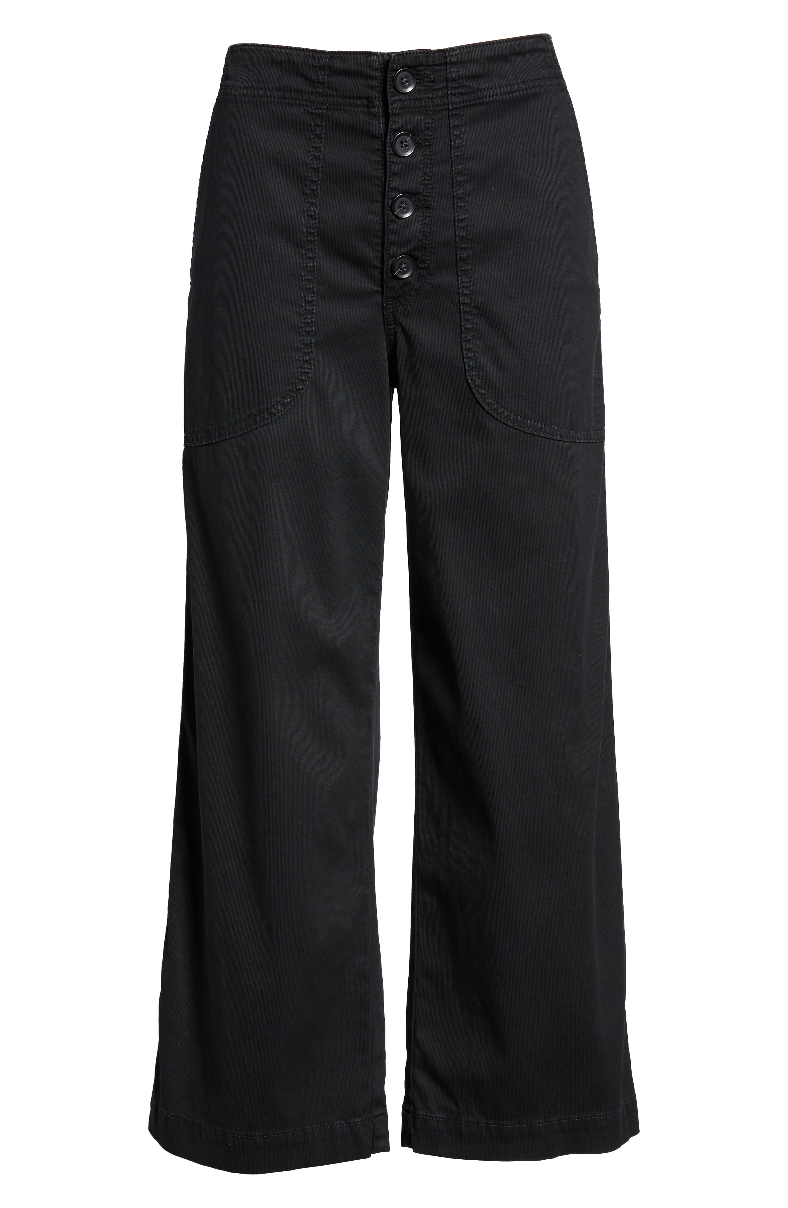 Etta High Waist Crop Wide Leg Jeans,                             Alternate thumbnail 7, color,                             SULFUR SUPER BLACK