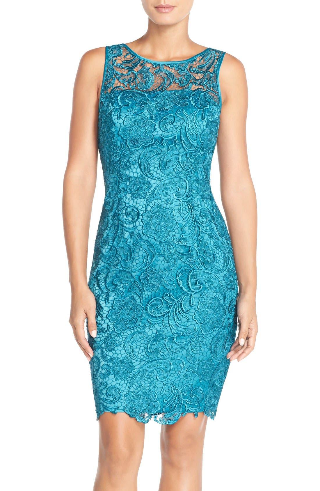 Illusion Bodice Lace Sheath Dress,                             Main thumbnail 7, color,