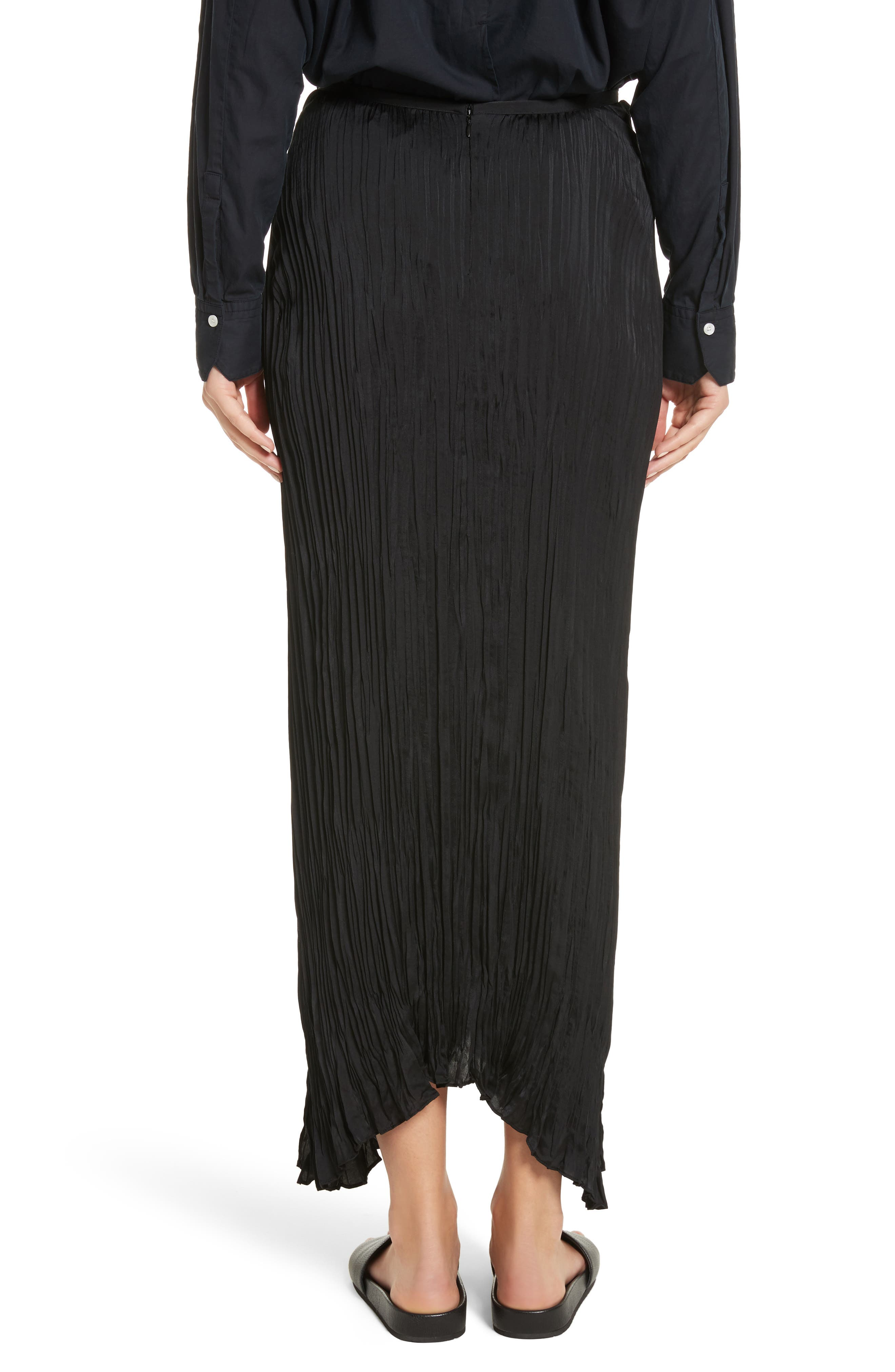 Pleated Tie Front Midi Skirt,                             Alternate thumbnail 2, color,                             001