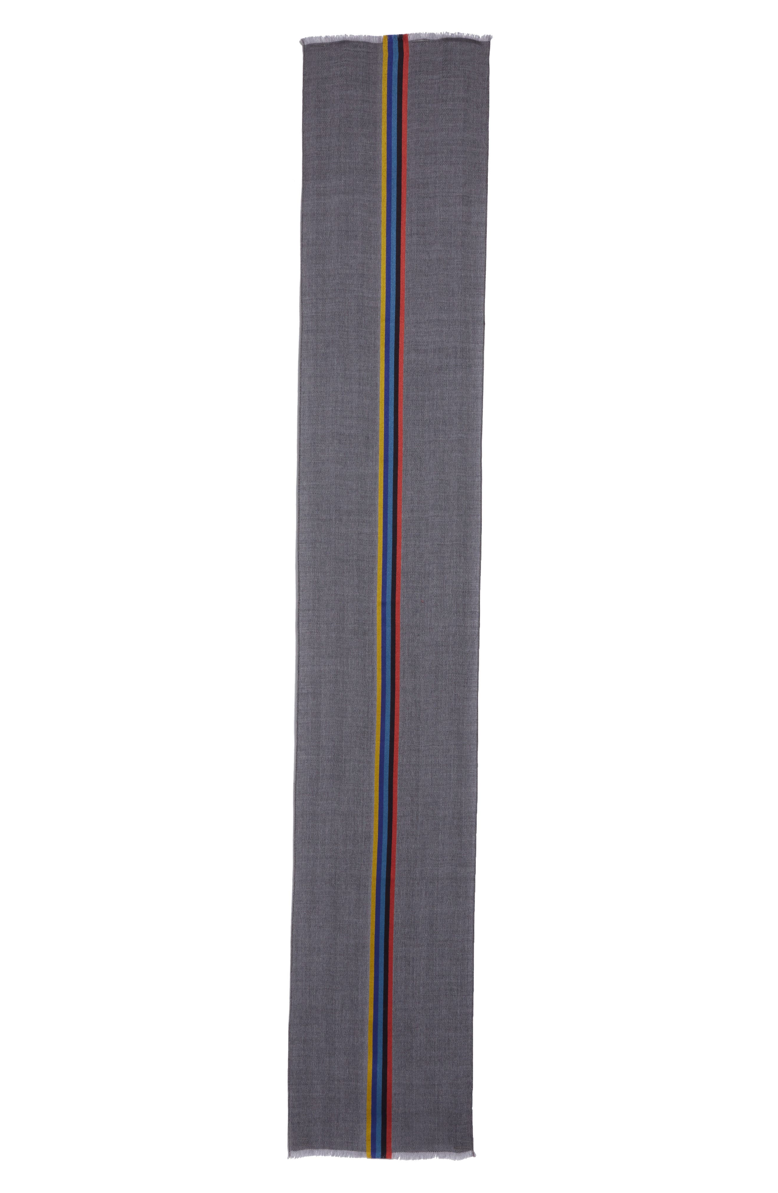 Central Stripe Wool & Silk Scarf,                             Alternate thumbnail 5, color,