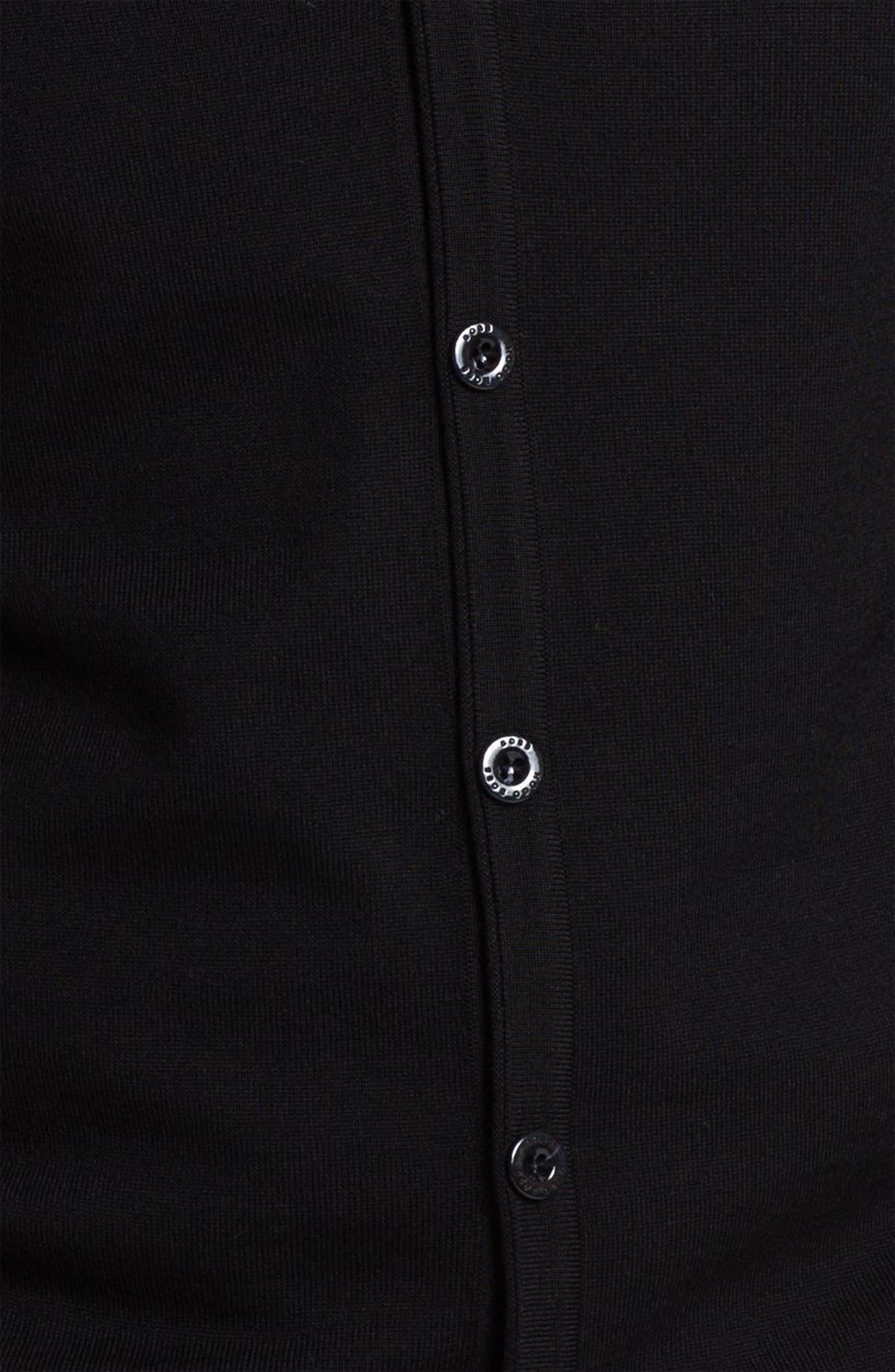 Black 'Baltimore' Wool Button Cardigan,                             Alternate thumbnail 3, color,                             001