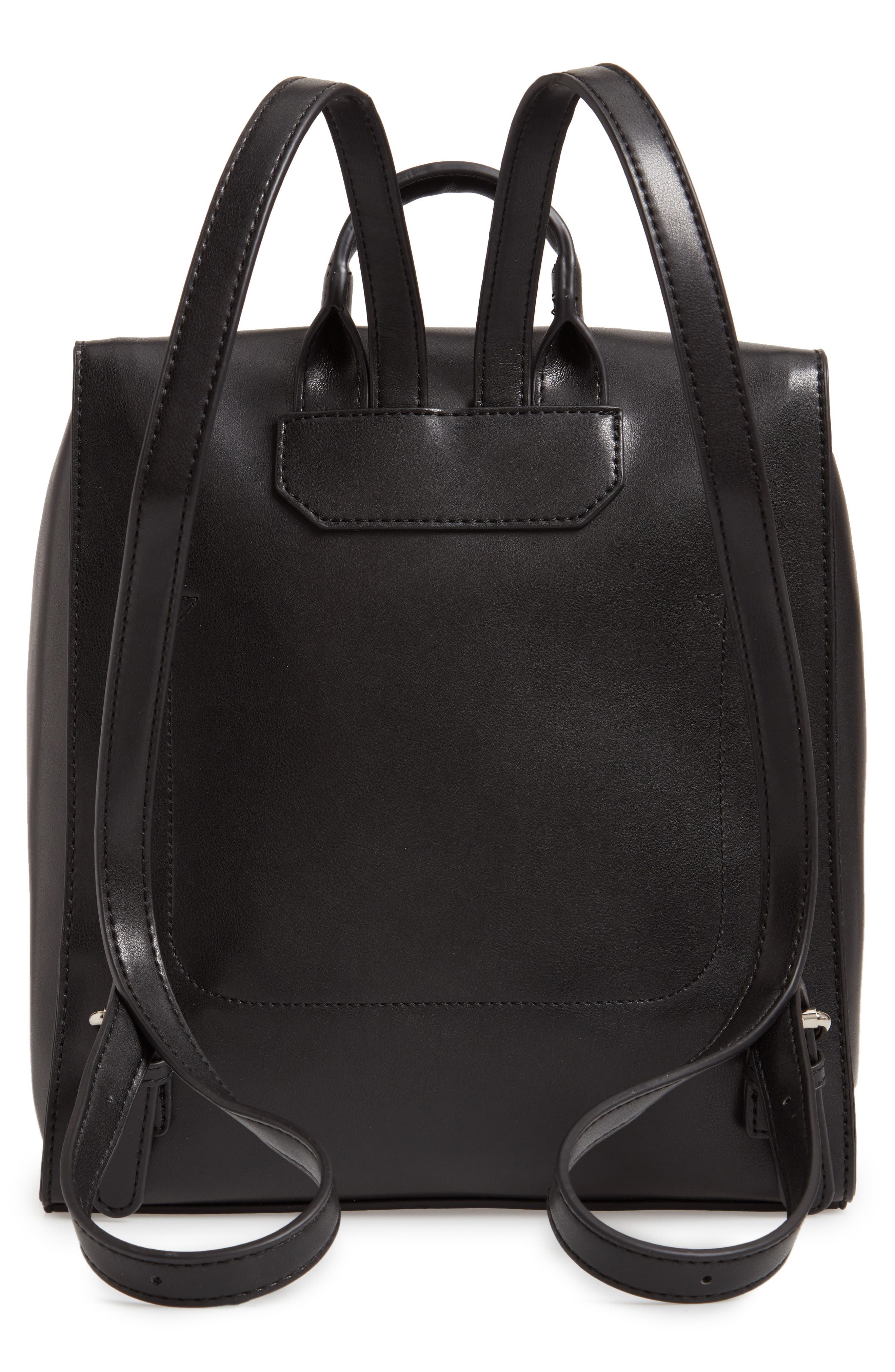 Whipstitch Faux Leather Square Backpack,                             Alternate thumbnail 3, color,                             001