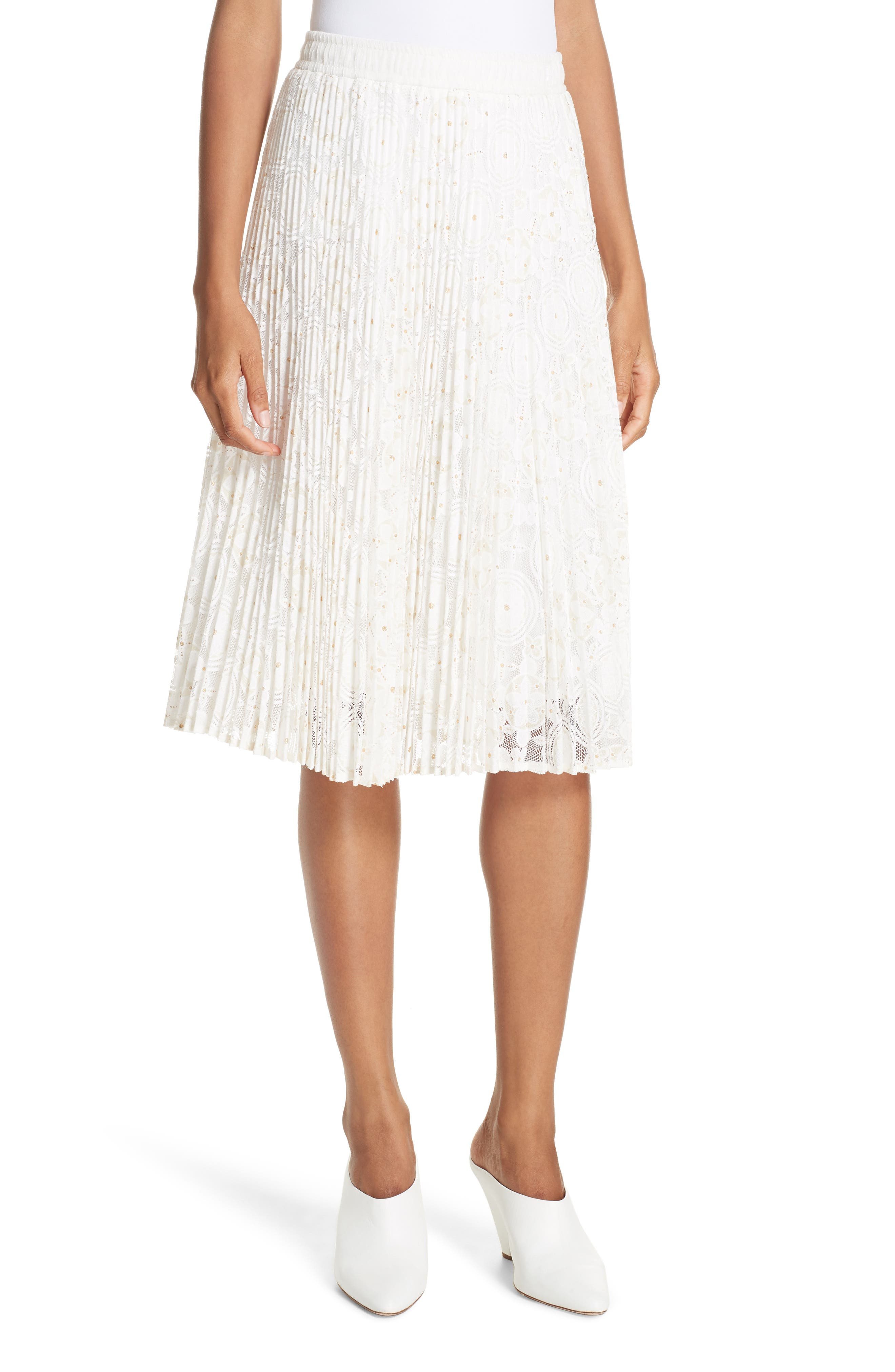 Metallic Floral Lace Pleated Skirt,                         Main,                         color, IVORY