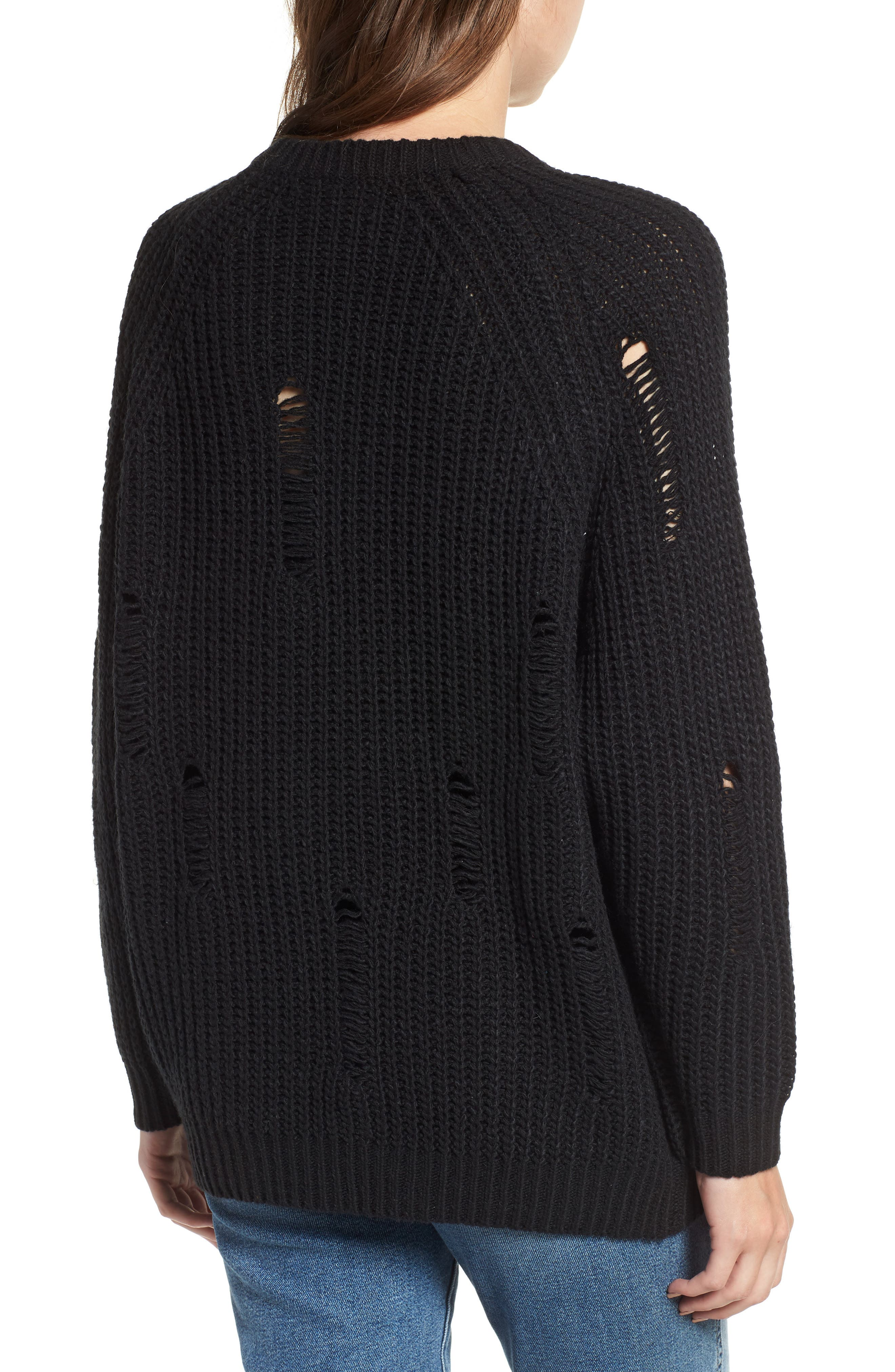 Bishop + Young Simone Distressed Shaker Sweater,                             Alternate thumbnail 2, color,                             BLACK