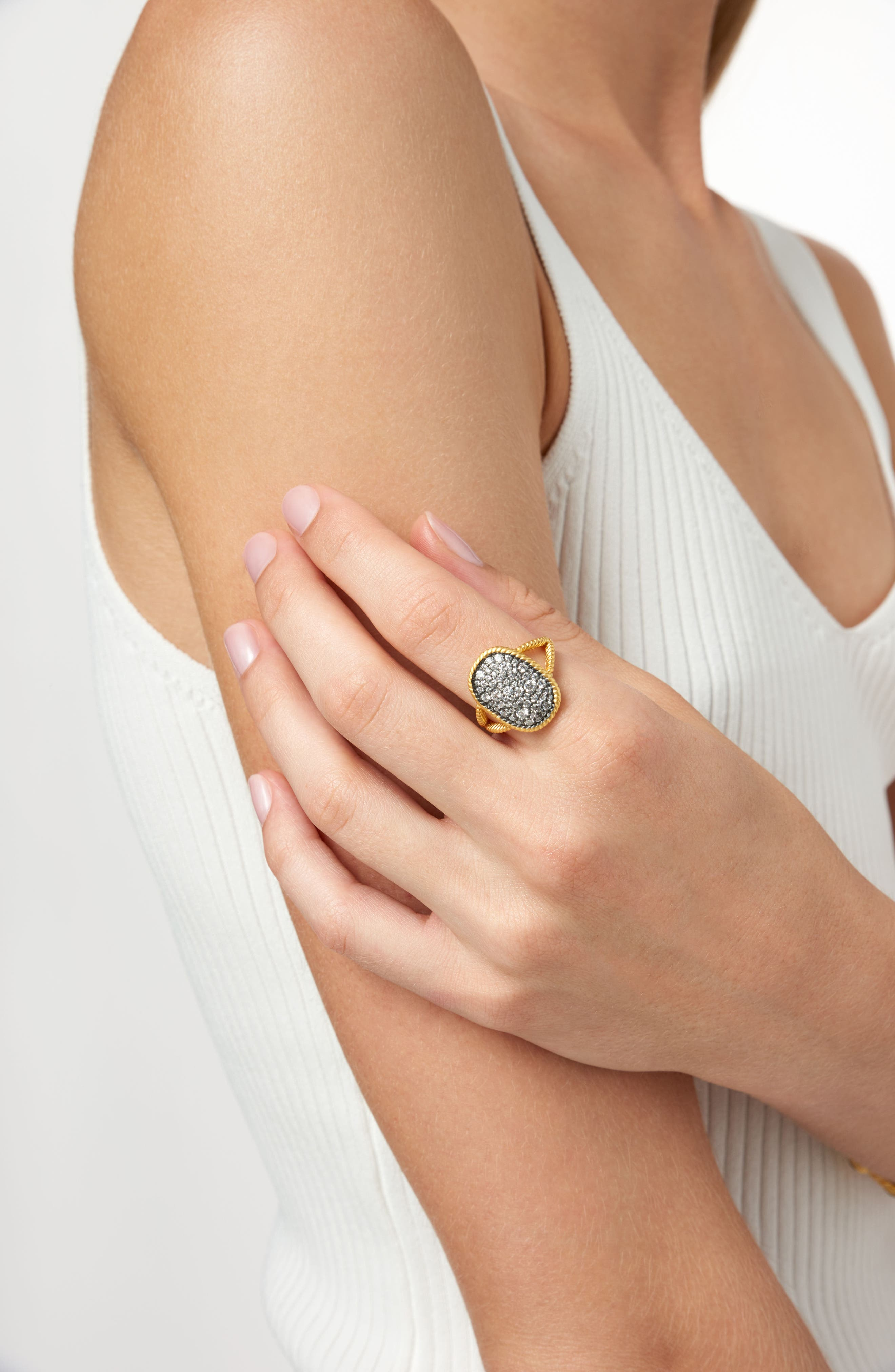 Gilded Cable Large Pavé Cocktail Ring,                             Alternate thumbnail 2, color,                             710