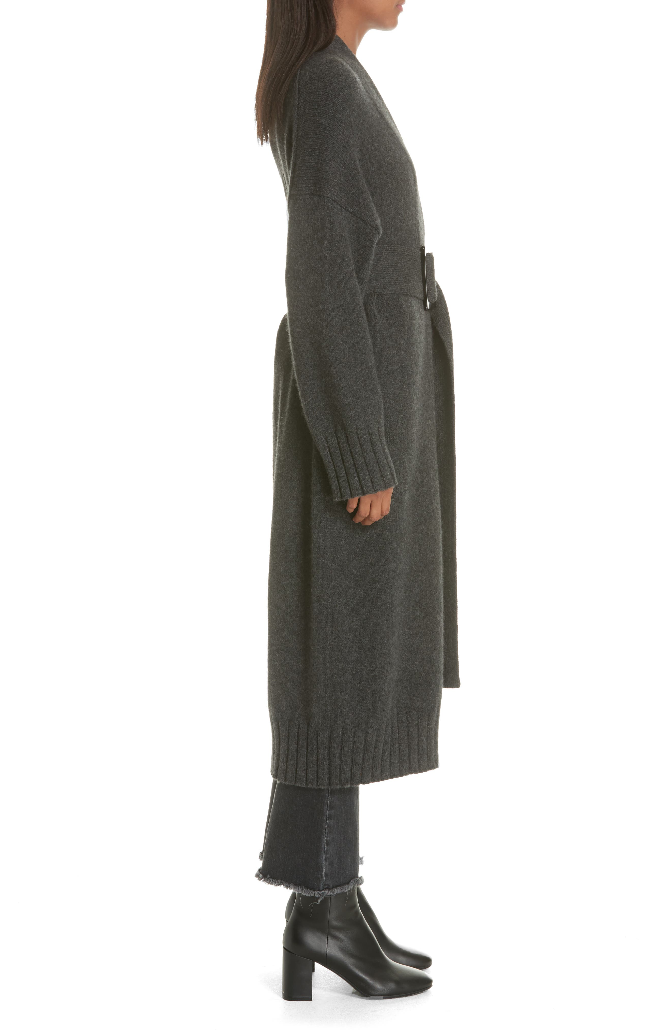 Allana Belted Merino Wool & Camel Hair Blend Cardigan,                             Alternate thumbnail 3, color,                             CHARCOAL