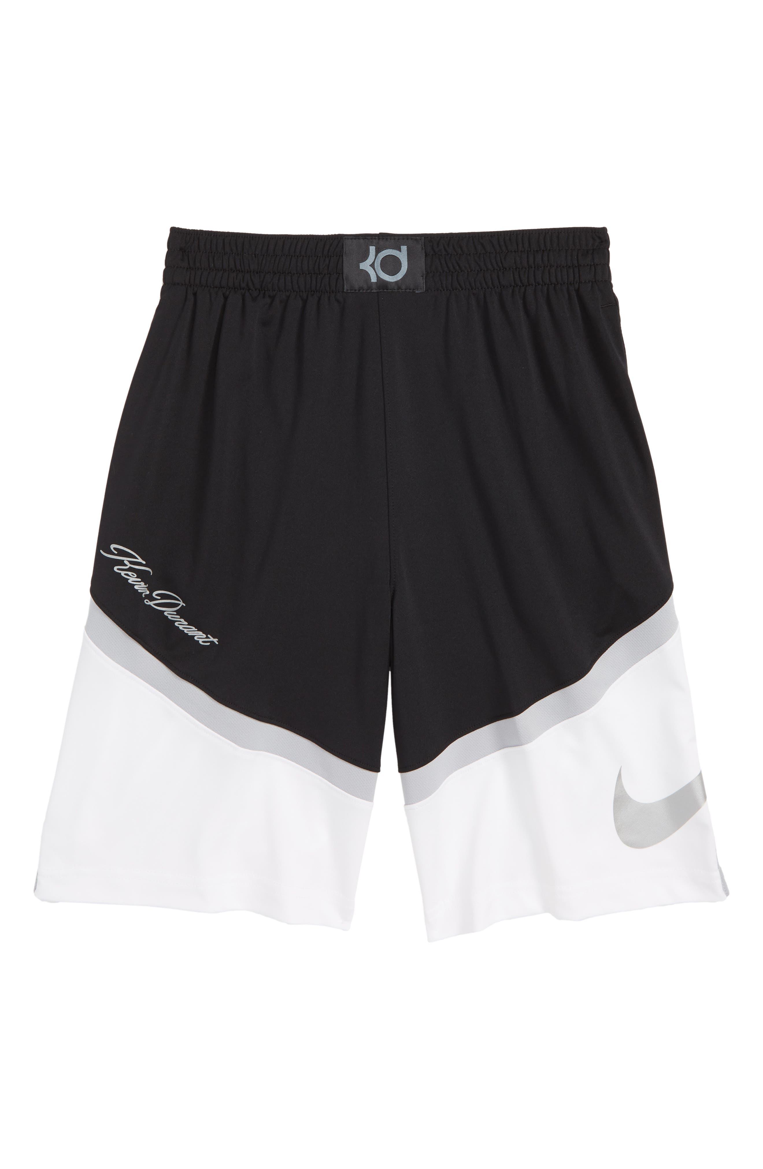 KD Dry Seasonal Shorts,                         Main,                         color, BLACK/ WHITE