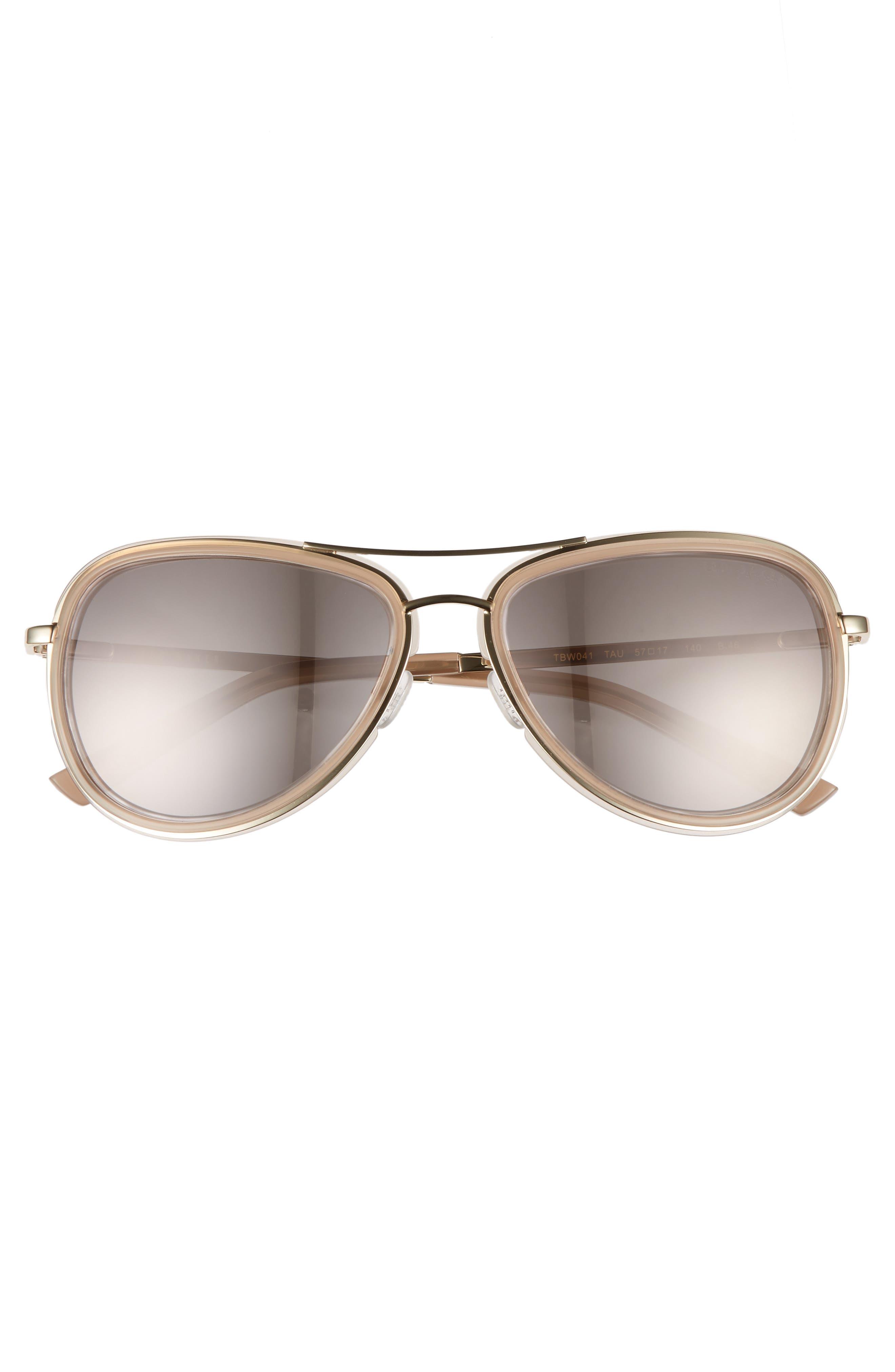 Combination 57mm Aviator Sunglasses,                             Alternate thumbnail 3, color,                             250