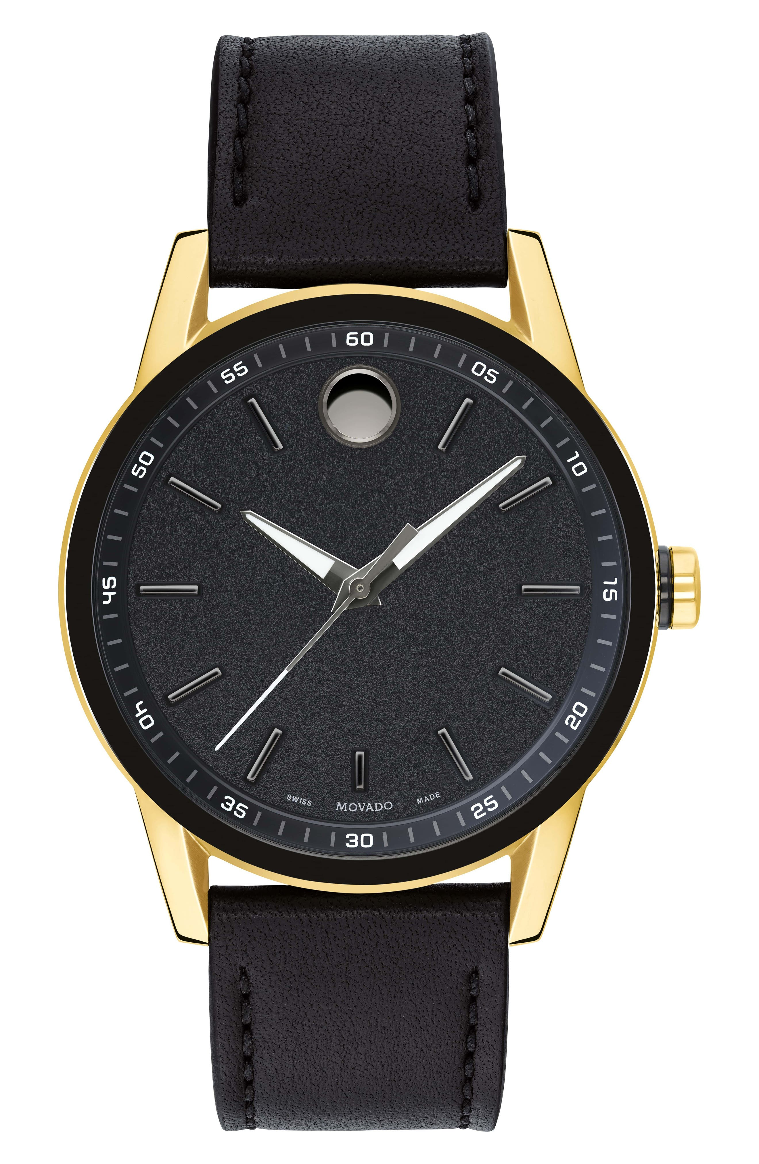 MOVADO,                             Leather Strap Watch, 42mm,                             Main thumbnail 1, color,                             BLACK/ GOLD