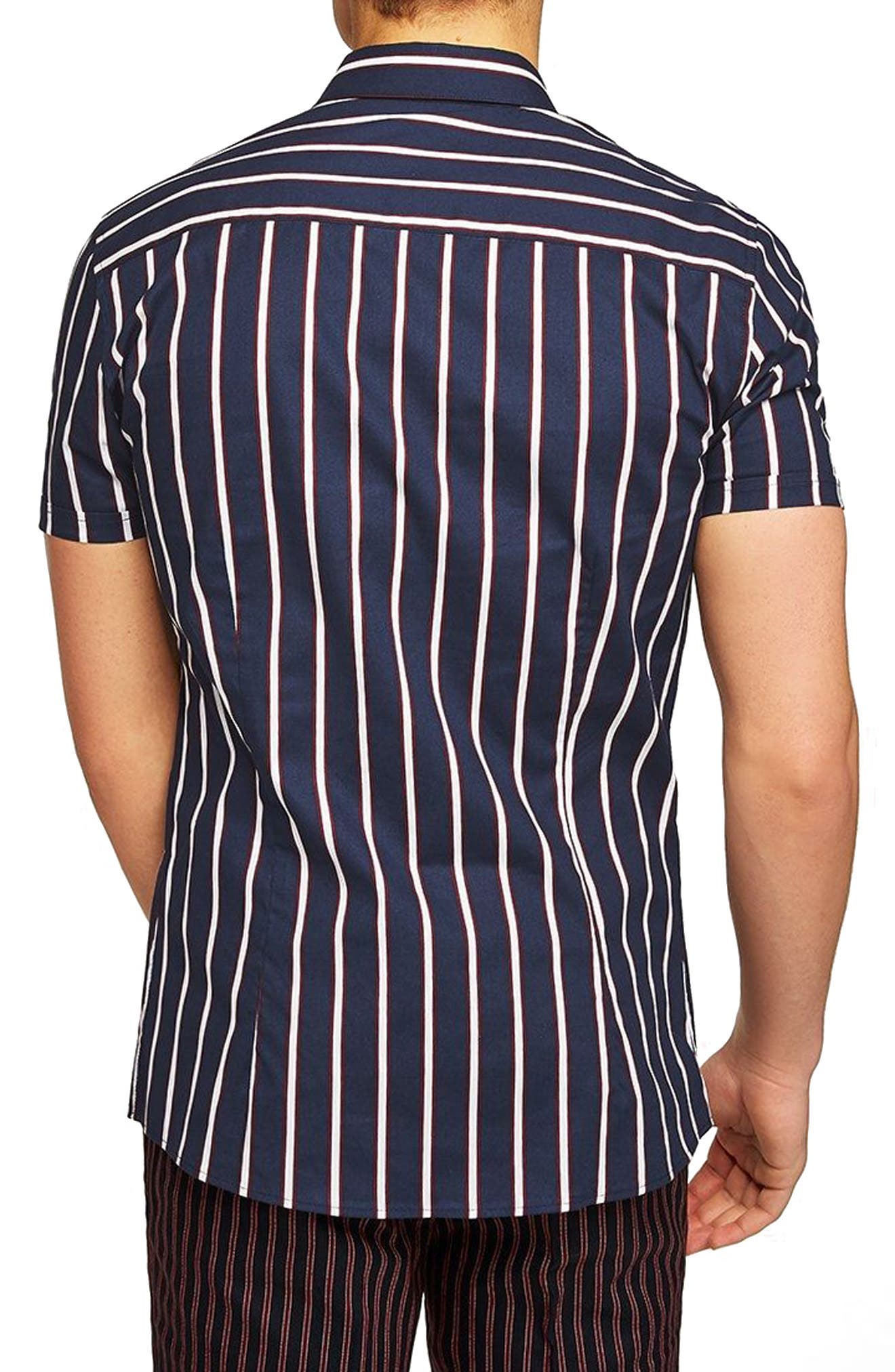 Muscle Fit Resort Stripe Shirt,                             Alternate thumbnail 3, color,                             411