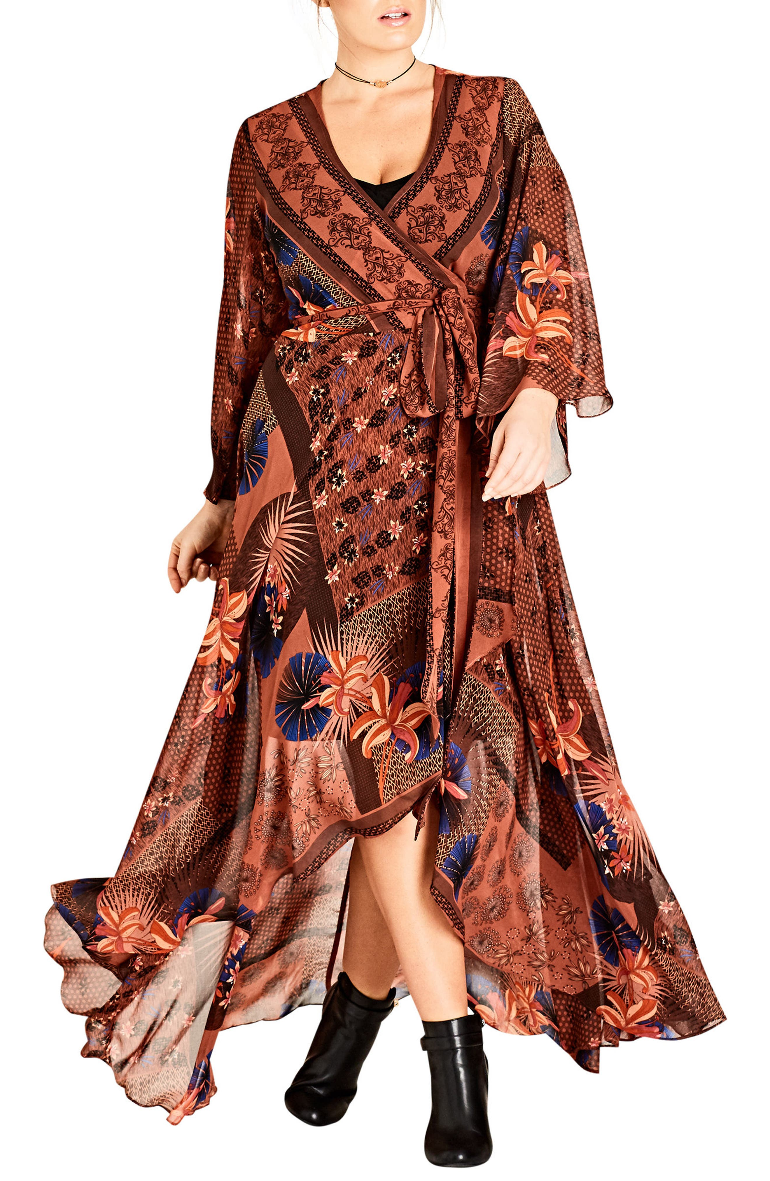 Patchwork Print Wrap Maxi Dress,                             Main thumbnail 1, color,                             609