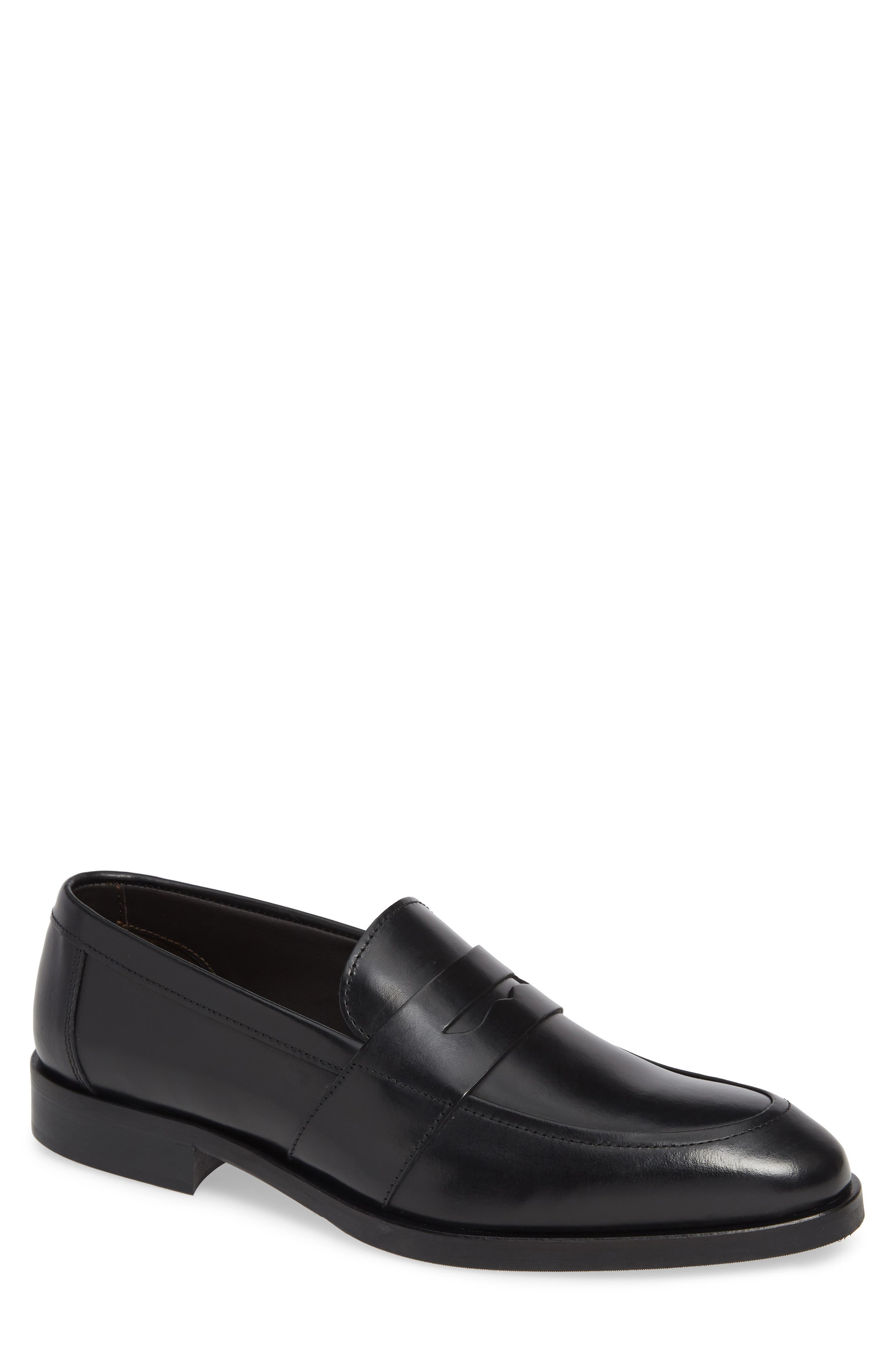 TO BOOT NEW YORK Men'S Devries Leather Apron-Toe Penny Loafers in Vitello Nero Leather