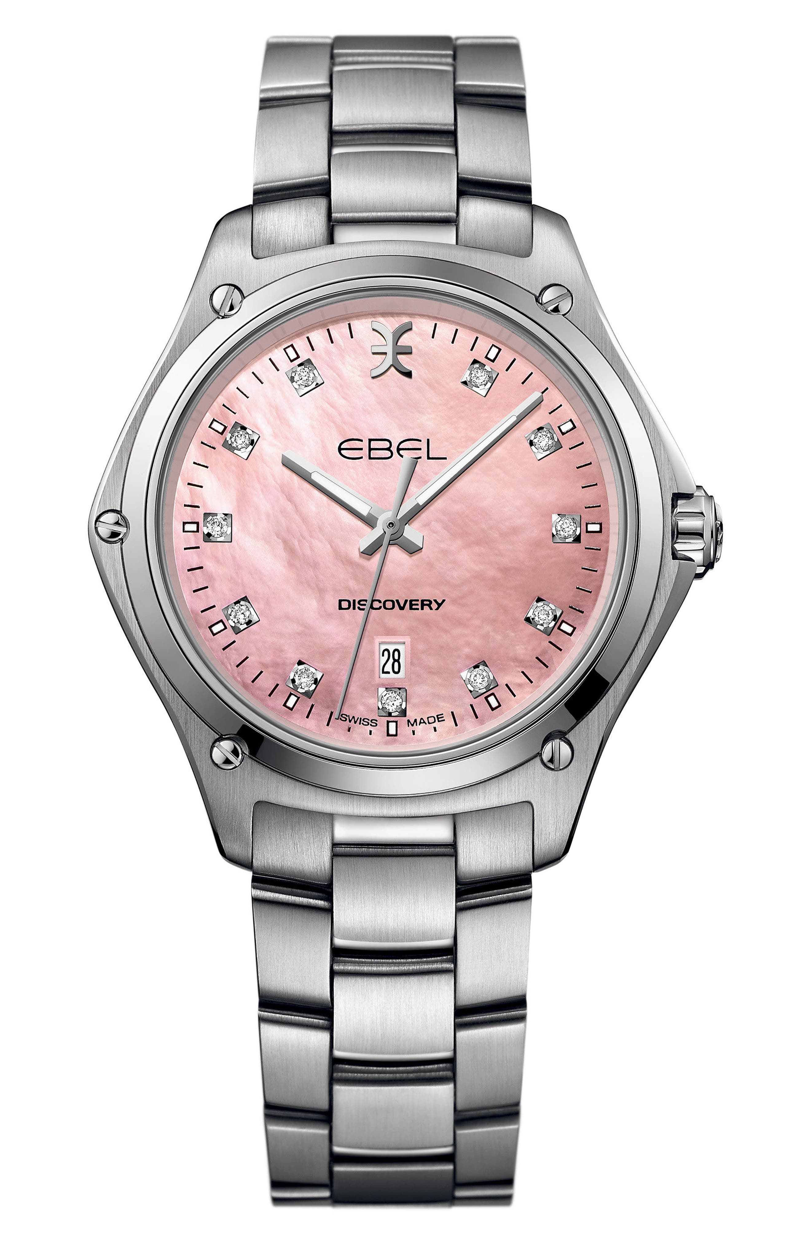 Discovery Diamond Bracelet Watch, 33mm,                         Main,                         color, SILVER/ PINK MOP/ SILVER