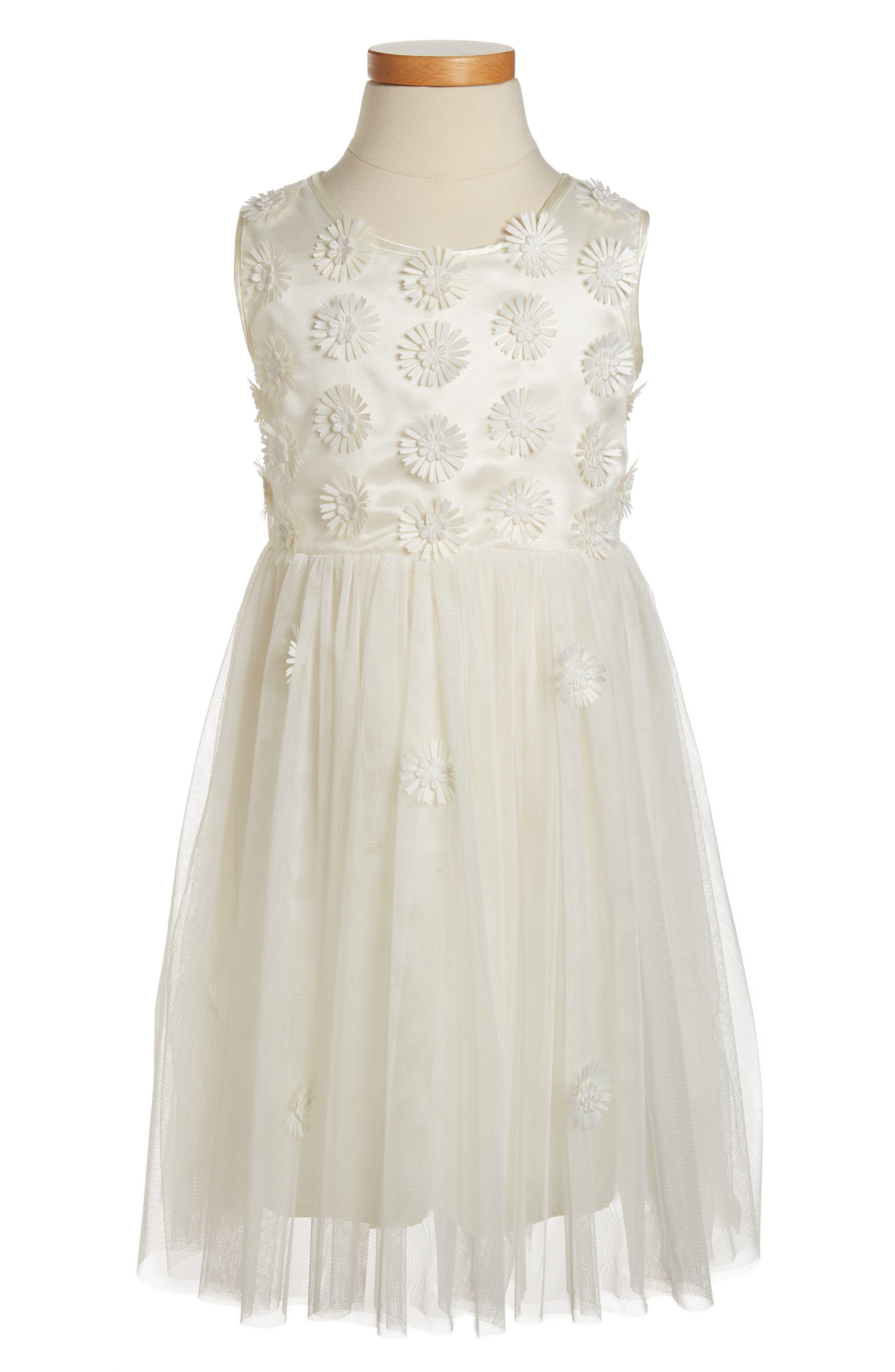 Daisy Sleeveless Dress,                             Main thumbnail 1, color,                             WHITE