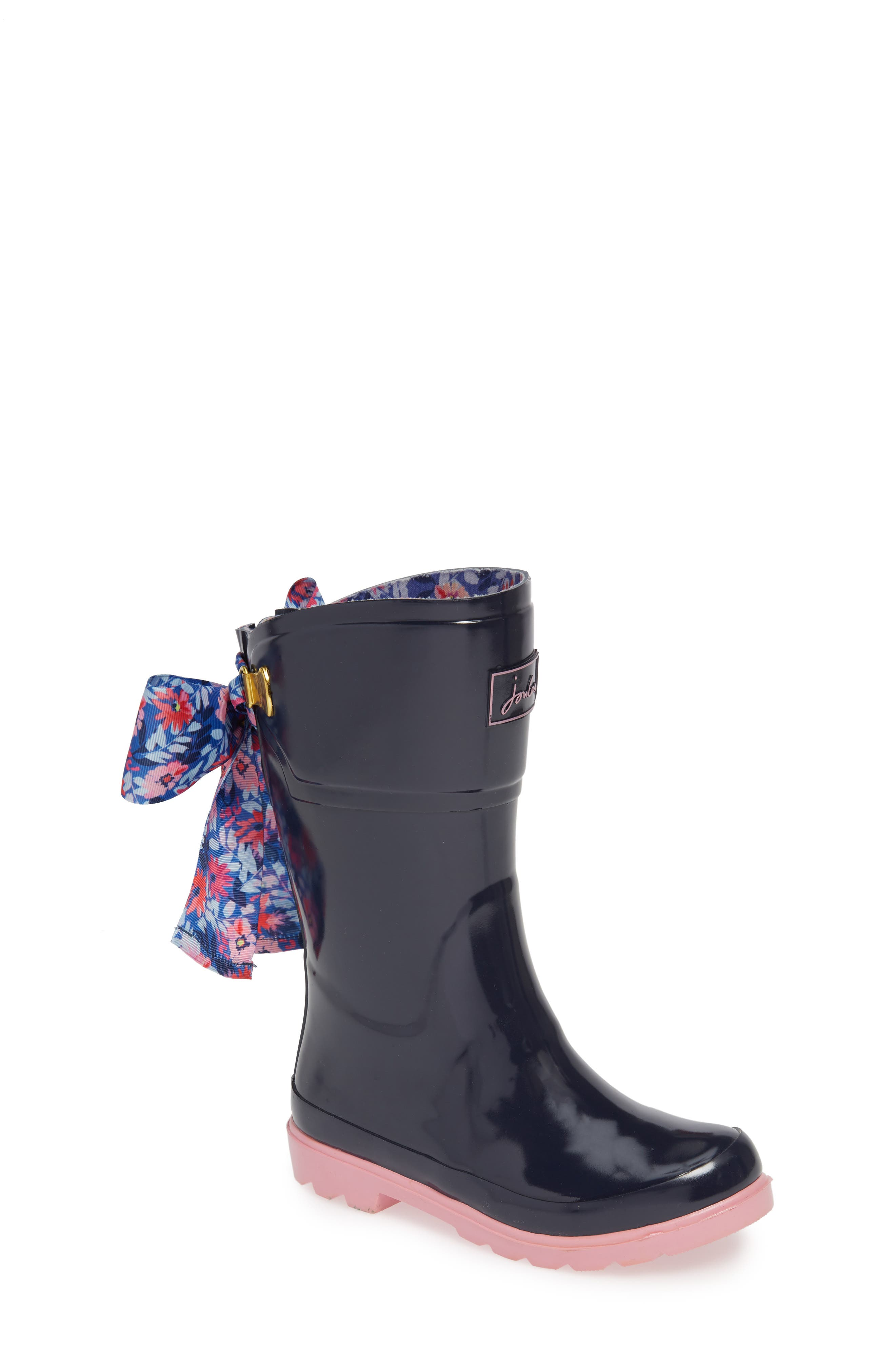 Bow Welly Waterproof Rain Boot,                             Main thumbnail 1, color,                             FRENCH NAVY