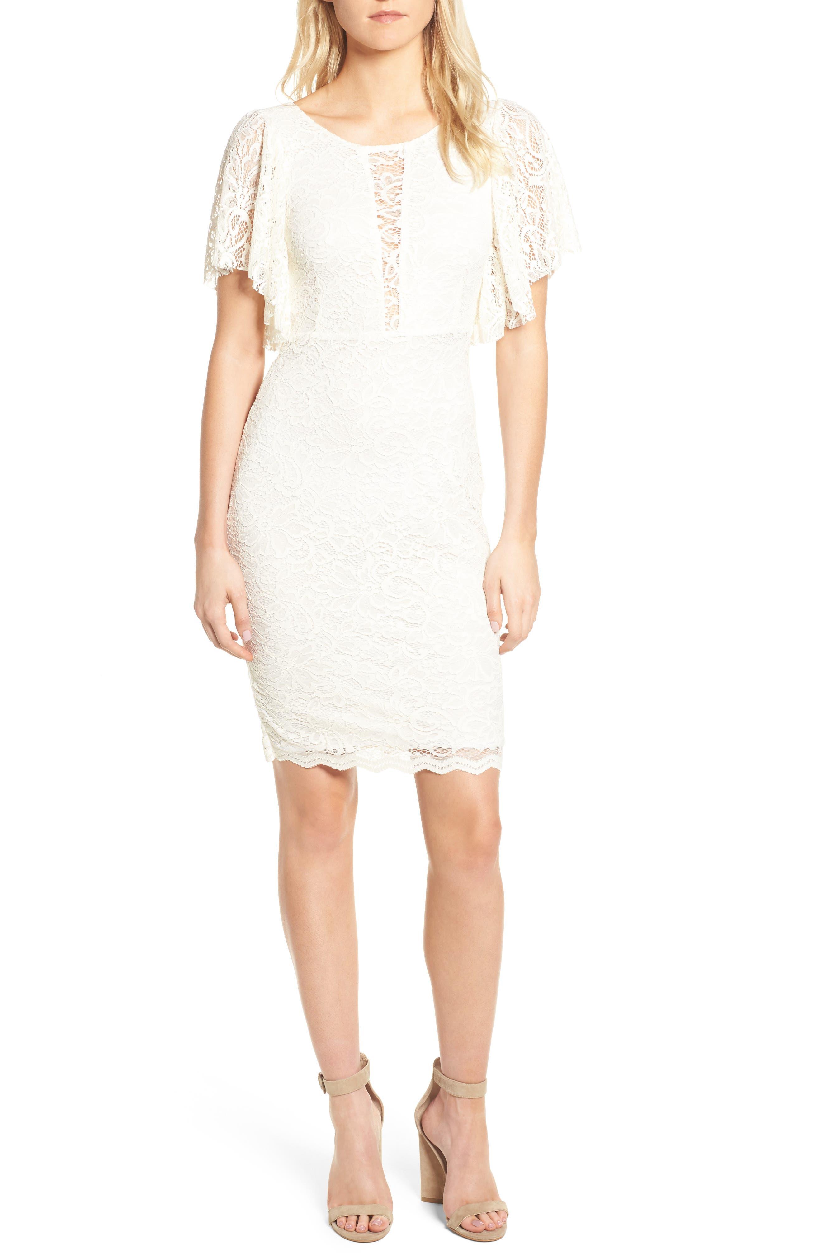 Lace Sheath Dress,                             Main thumbnail 1, color,                             CREAM
