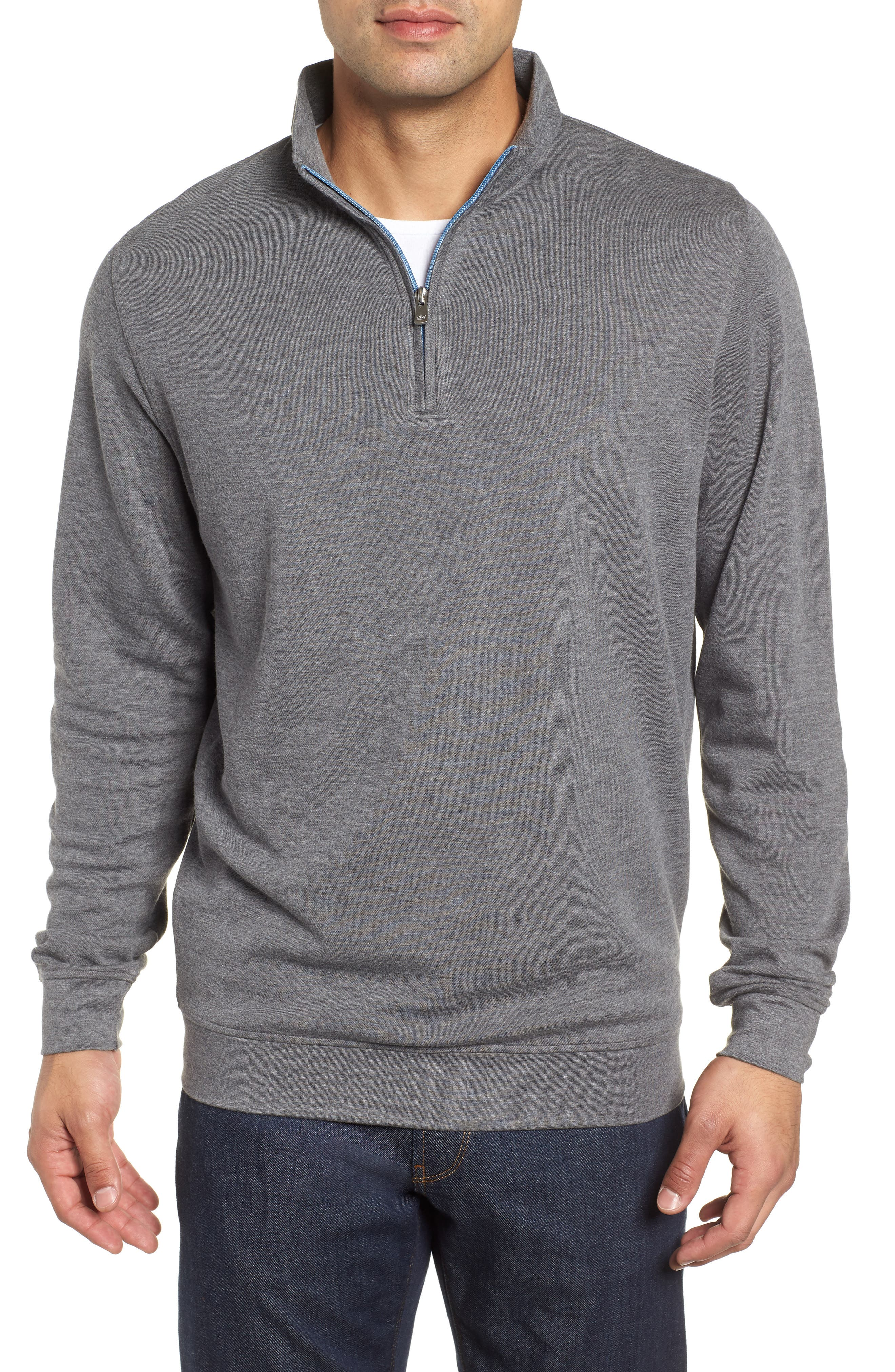 Crown Comfort Jersey Quarter Zip Pullover,                             Main thumbnail 1, color,                             CHARCOAL