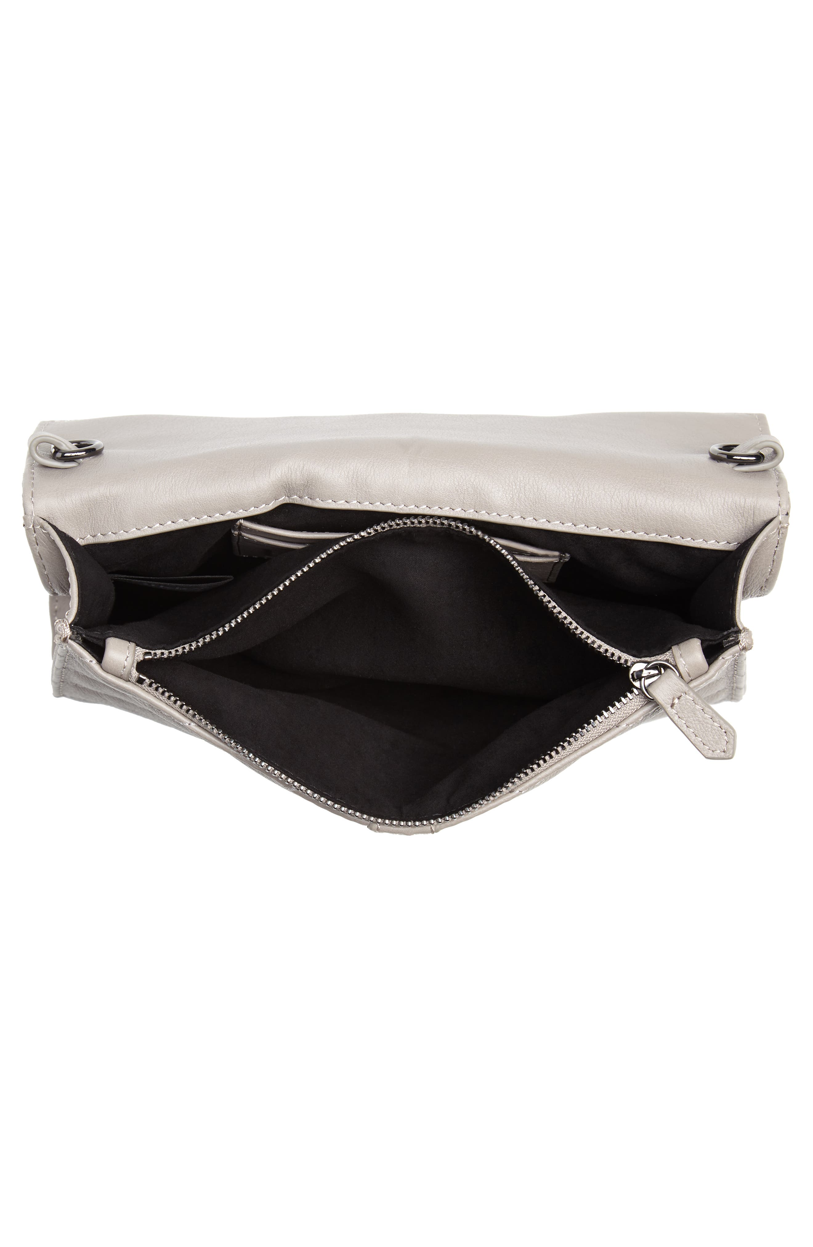 Dakota Quilted Leather Clutch,                             Alternate thumbnail 4, color,                             020